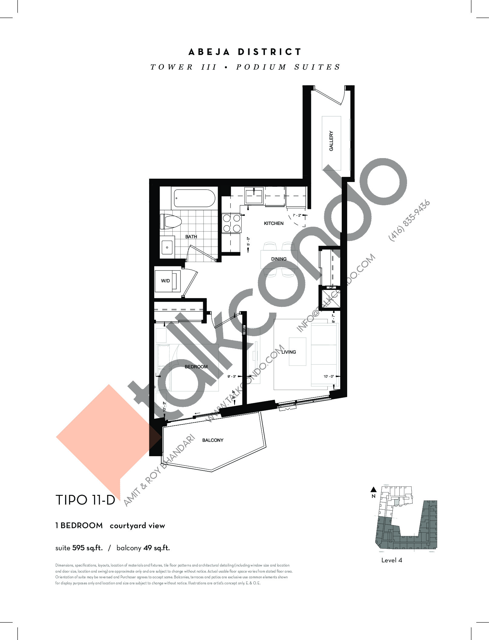 TIPO 11-D Floor Plan at Abeja District Condos Tower 3 - 595 sq.ft