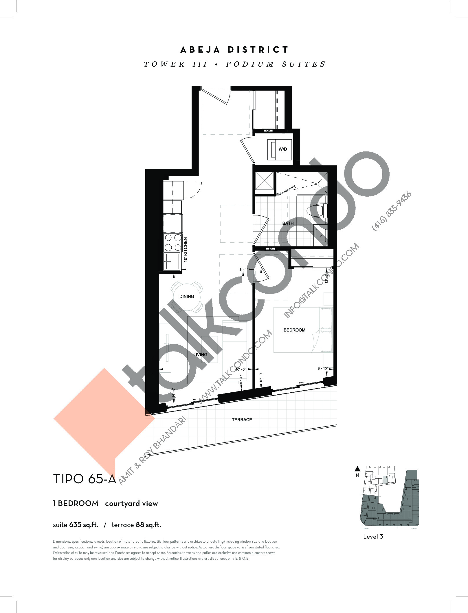 TIPO 65-A Floor Plan at Abeja District Condos Tower 3 - 635 sq.ft
