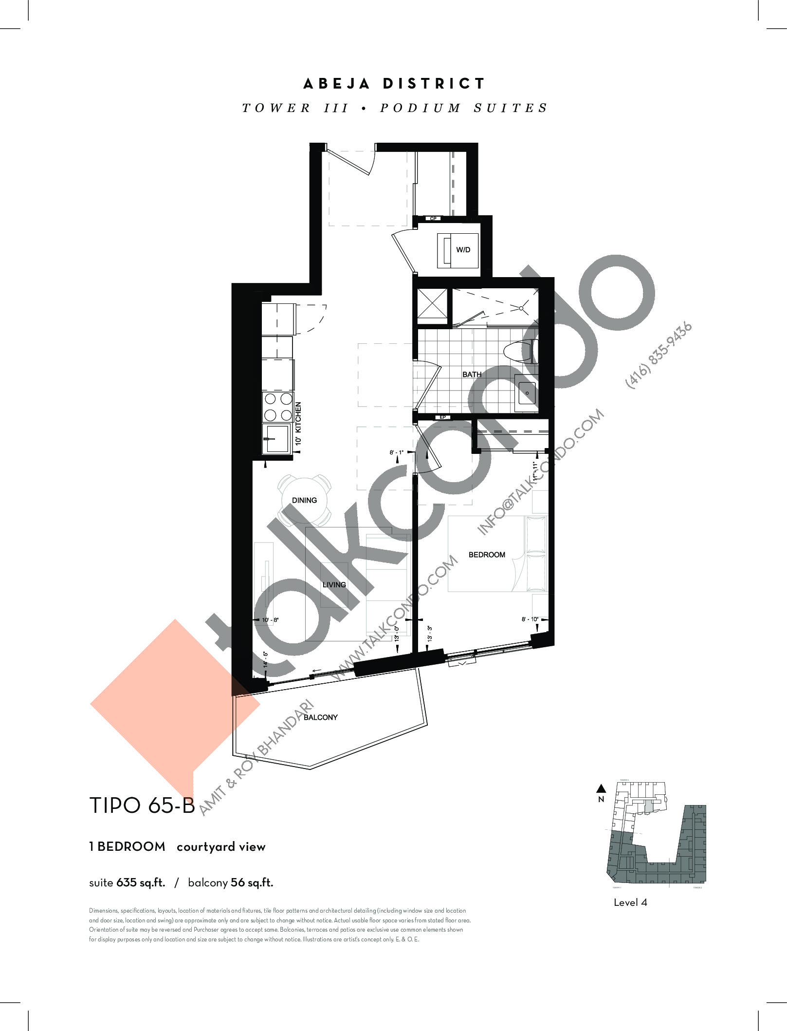 TIPO 65-B Floor Plan at Abeja District Condos Tower 3 - 635 sq.ft