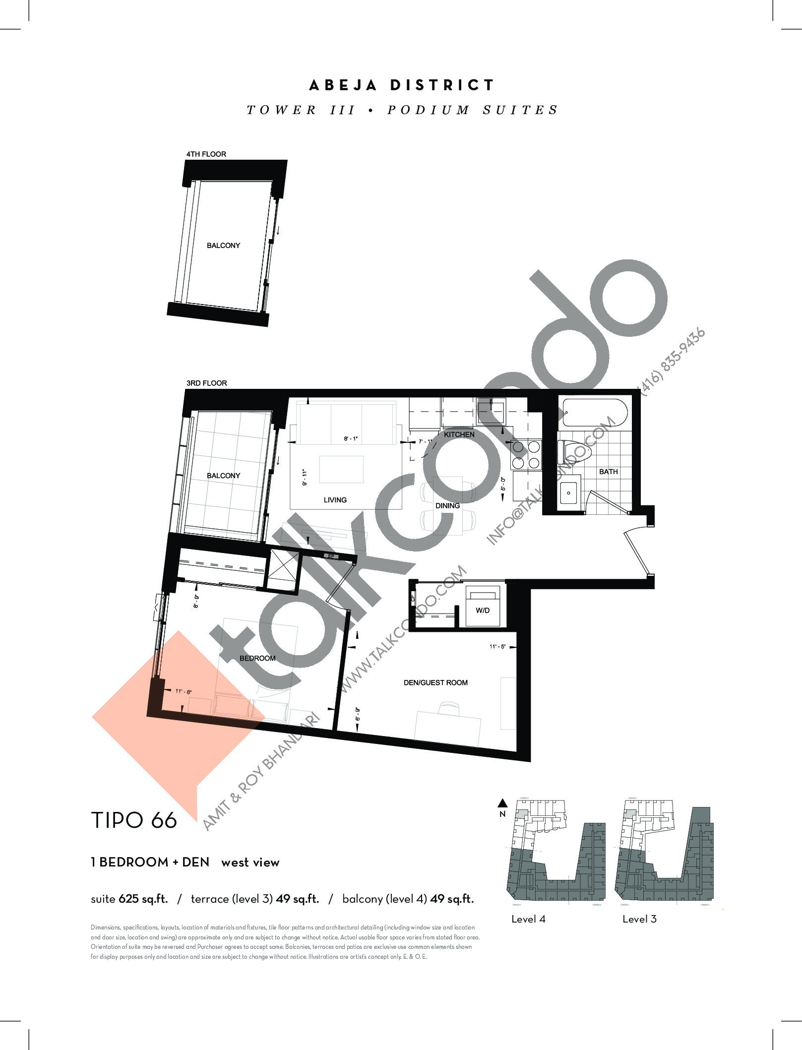 TIPO 66 Floor Plan at Abeja District Condos Tower 3 - 625 sq.ft