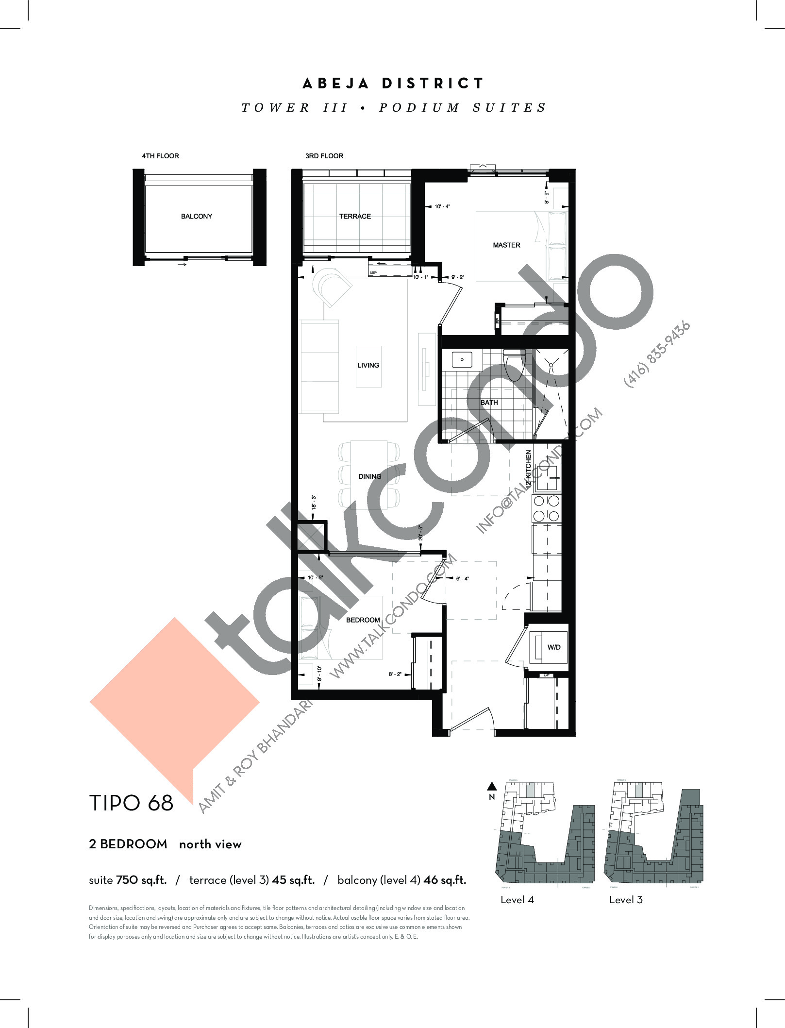 TIPO 68 Floor Plan at Abeja District Condos Tower 3 - 750 sq.ft