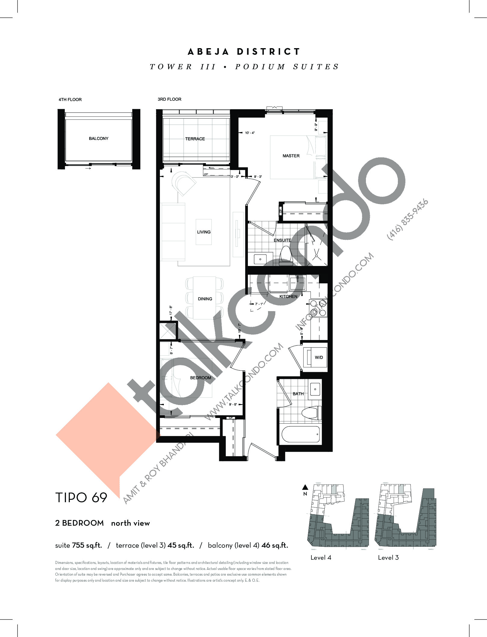 TIPO 69 Floor Plan at Abeja District Condos Tower 3 - 755 sq.ft