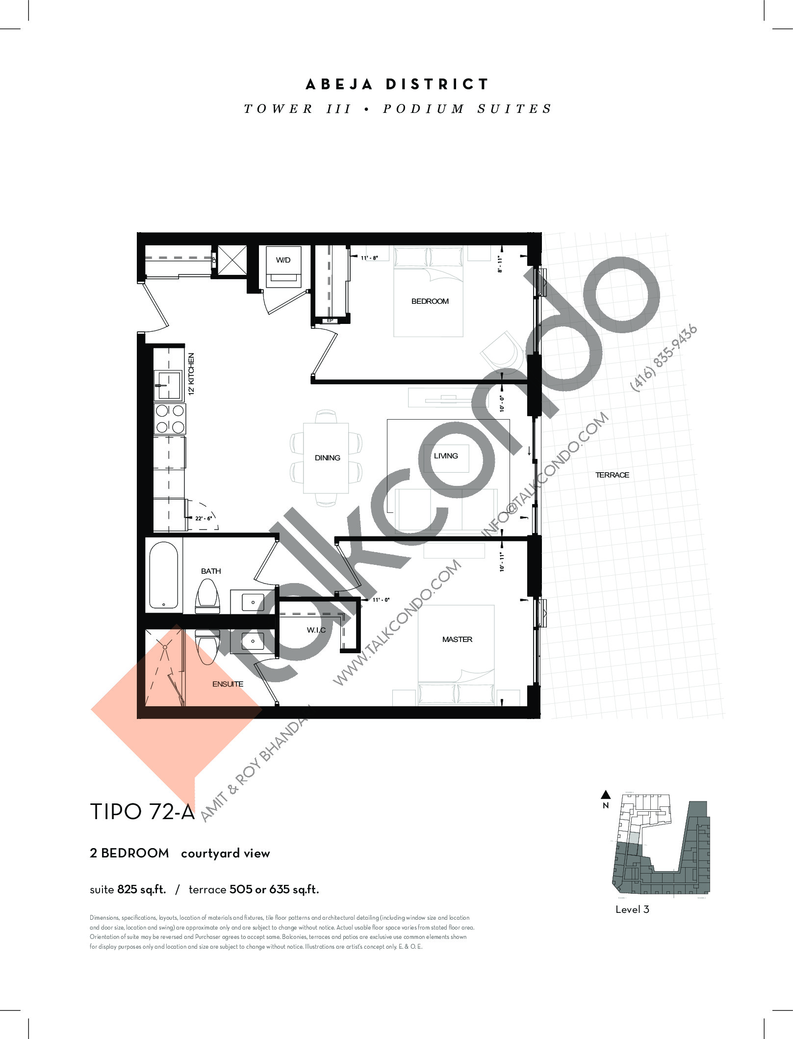 TIPO 72-A Floor Plan at Abeja District Condos Tower 3 - 825 sq.ft