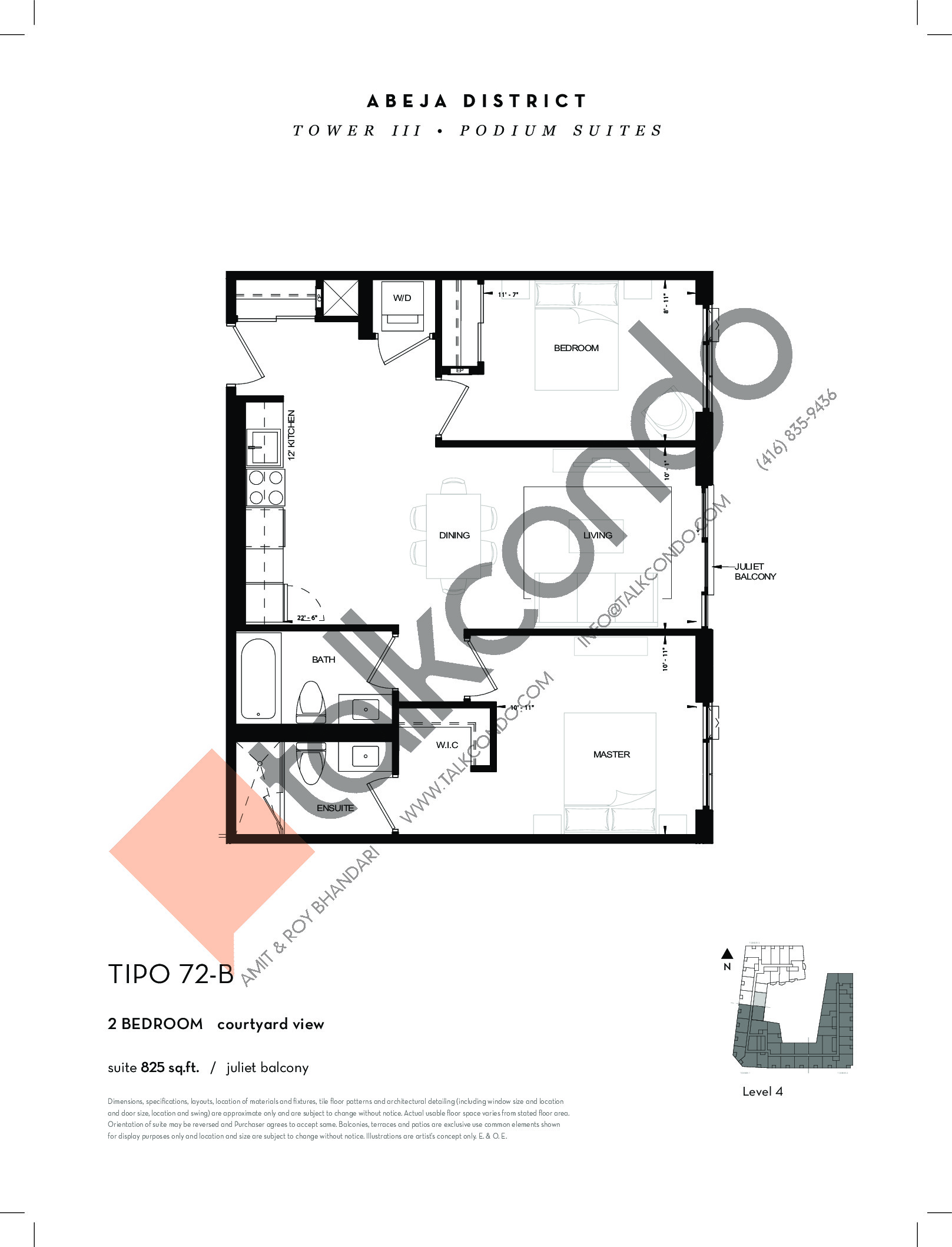 TIPO 72-B Floor Plan at Abeja District Condos Tower 3 - 825 sq.ft