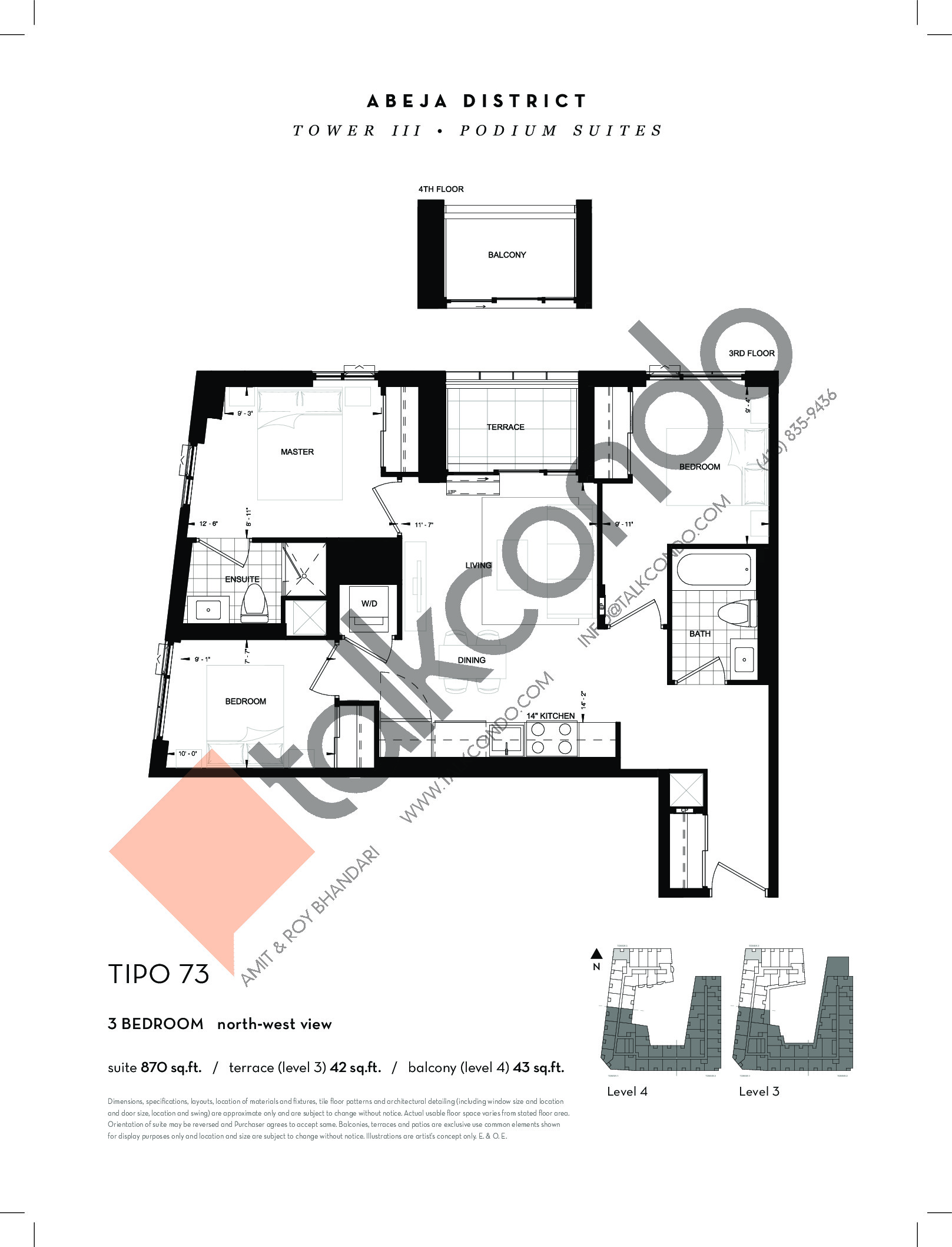 TIPO 73 Floor Plan at Abeja District Condos Tower 3 - 870 sq.ft