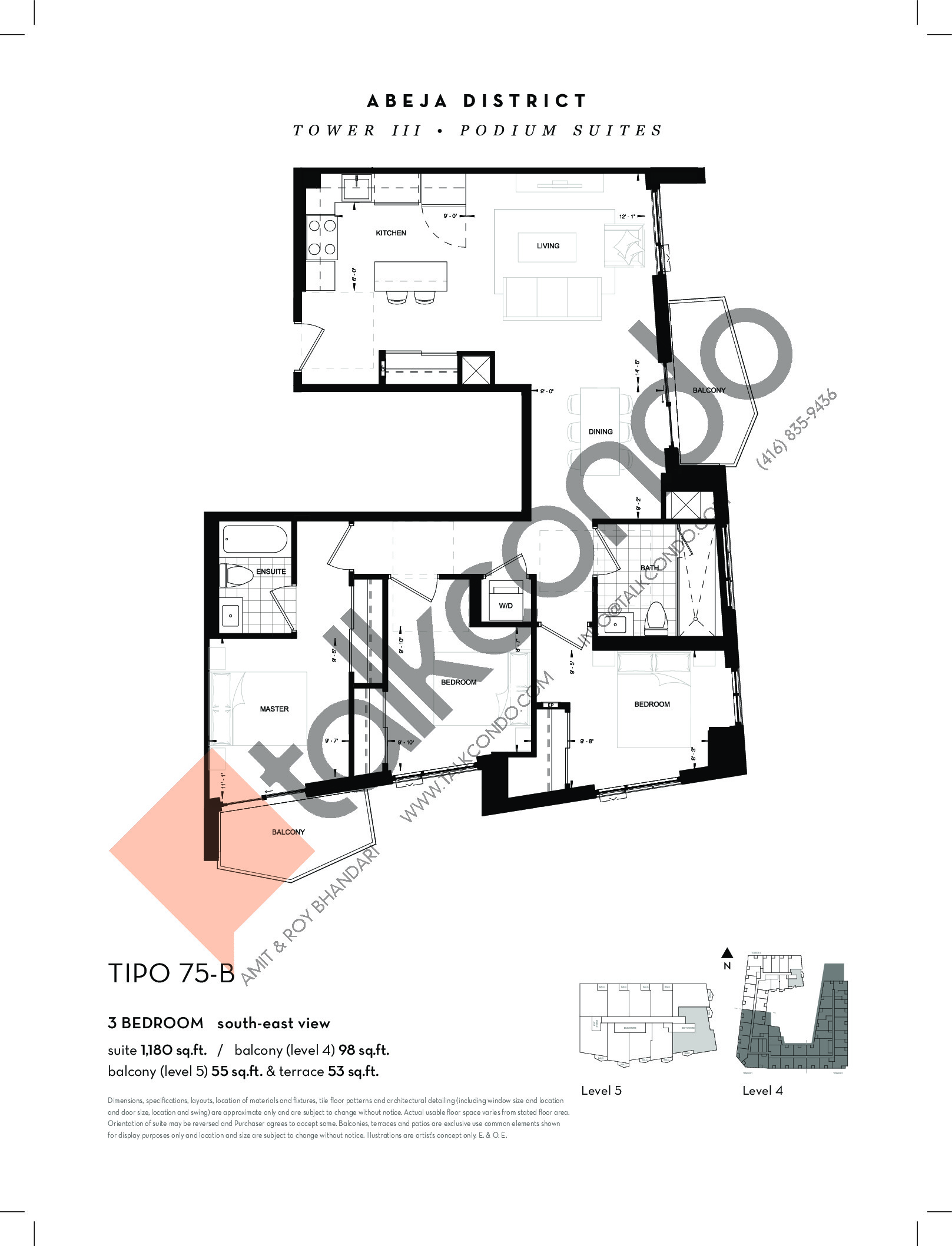 TIPO 75-B Floor Plan at Abeja District Condos Tower 3 - 1180 sq.ft