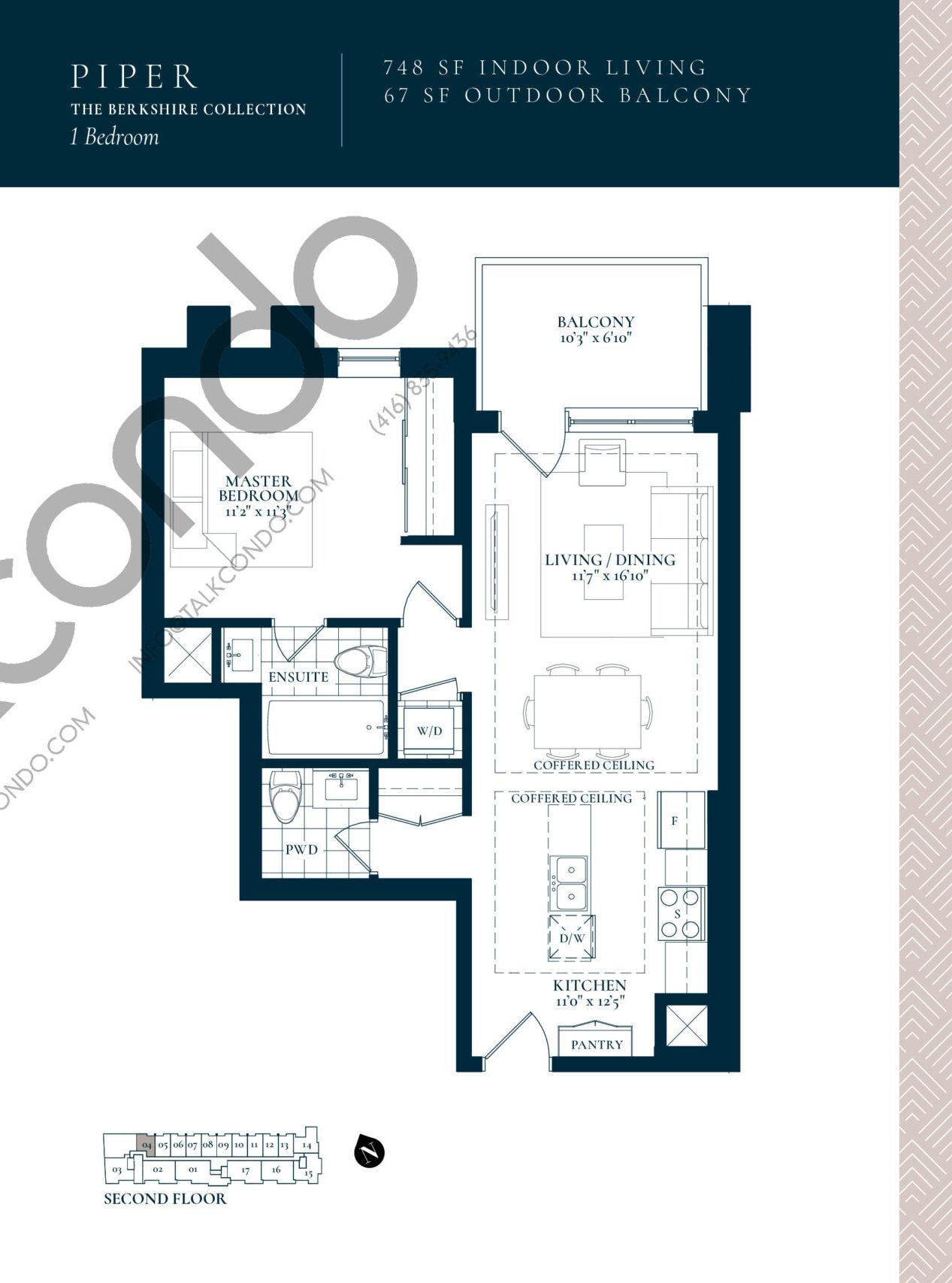 Piper Floor Plan at Berkshire Residences Condos - 748 sq.ft