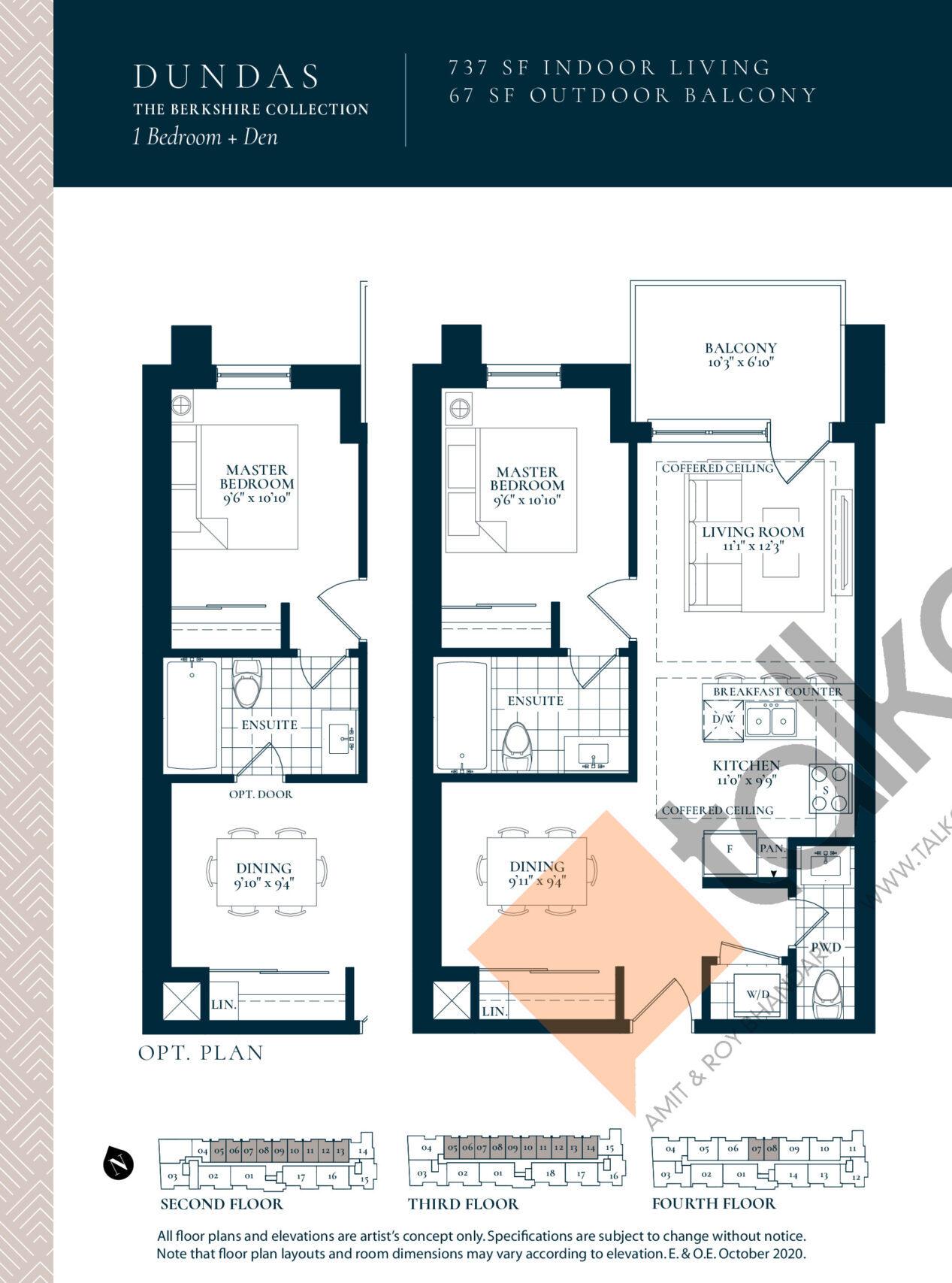 Dundas Floor Plan at Berkshire Residences Condos - 737 sq.ft