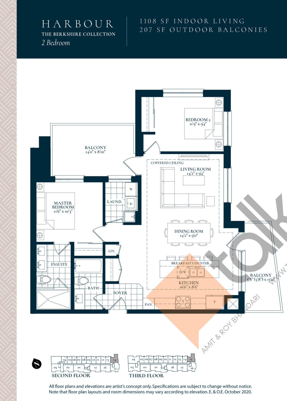 Harbour Floor Plan at Berkshire Residences Condos - 1108 sq.ft
