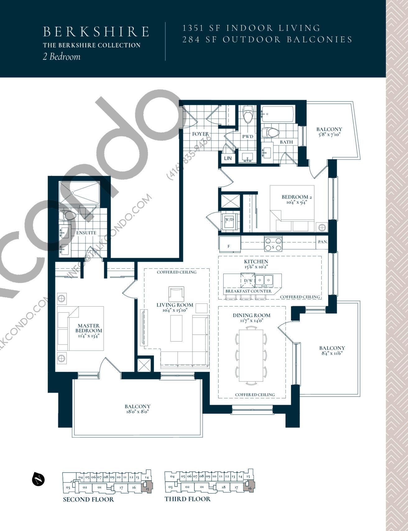 Berkshire Floor Plan at Berkshire Residences Condos - 1351 sq.ft