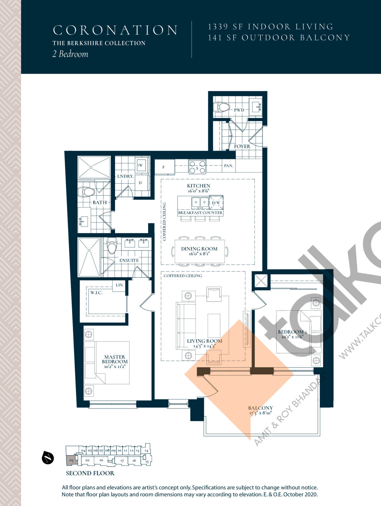 Coronation Floor Plan at Berkshire Residences Condos - 1339 sq.ft