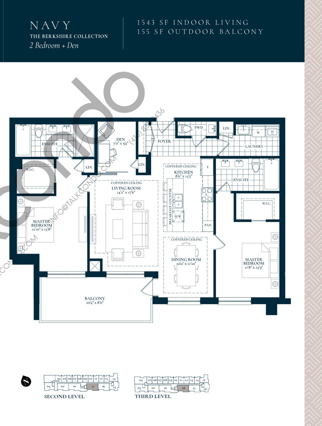 Navy Floor Plan at Berkshire Residences Condos - 1543 sq.ft