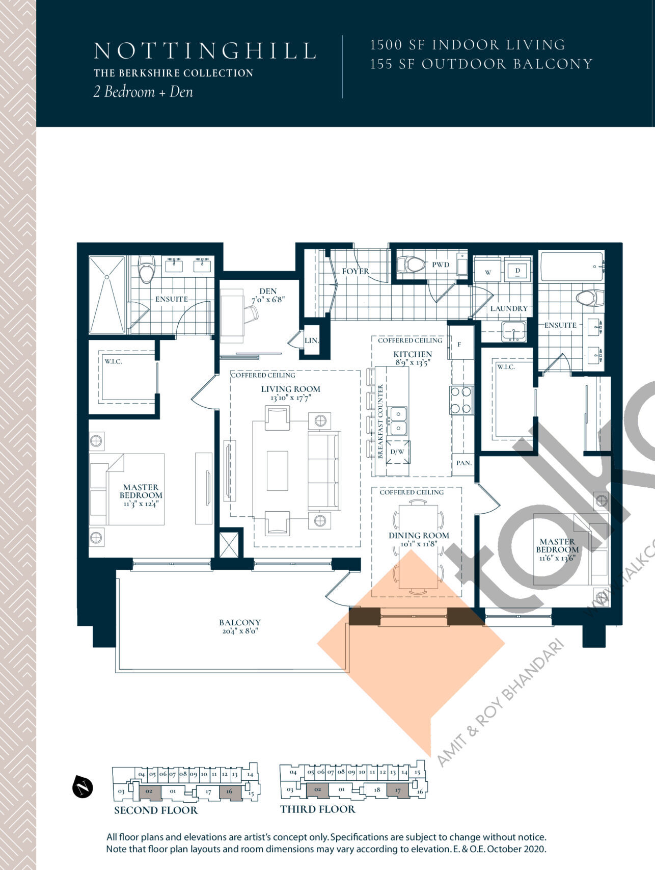 Nottinghill Floor Plan at Berkshire Residences Condos - 1500 sq.ft