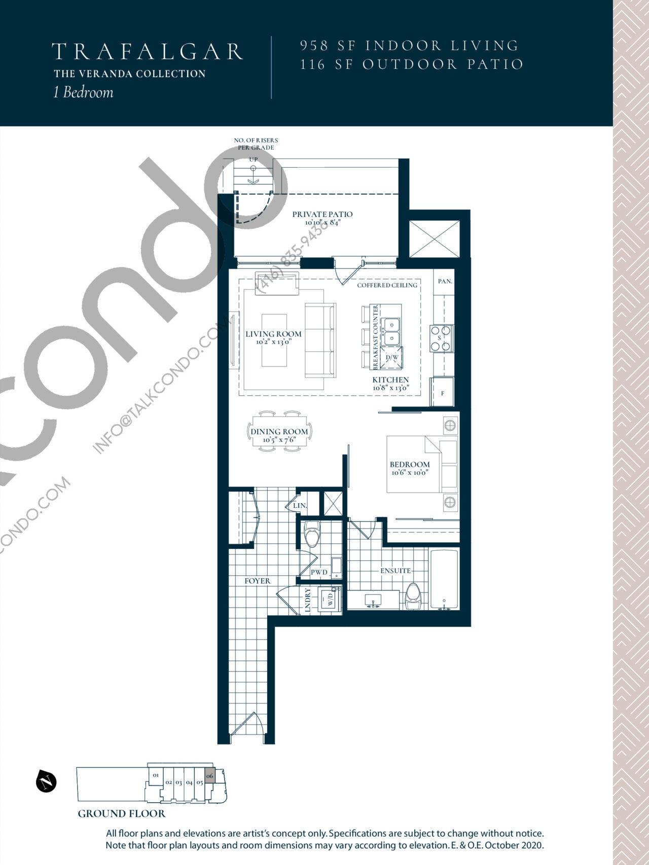 Trafalgar Floor Plan at Berkshire Residences Condos - 958 sq.ft