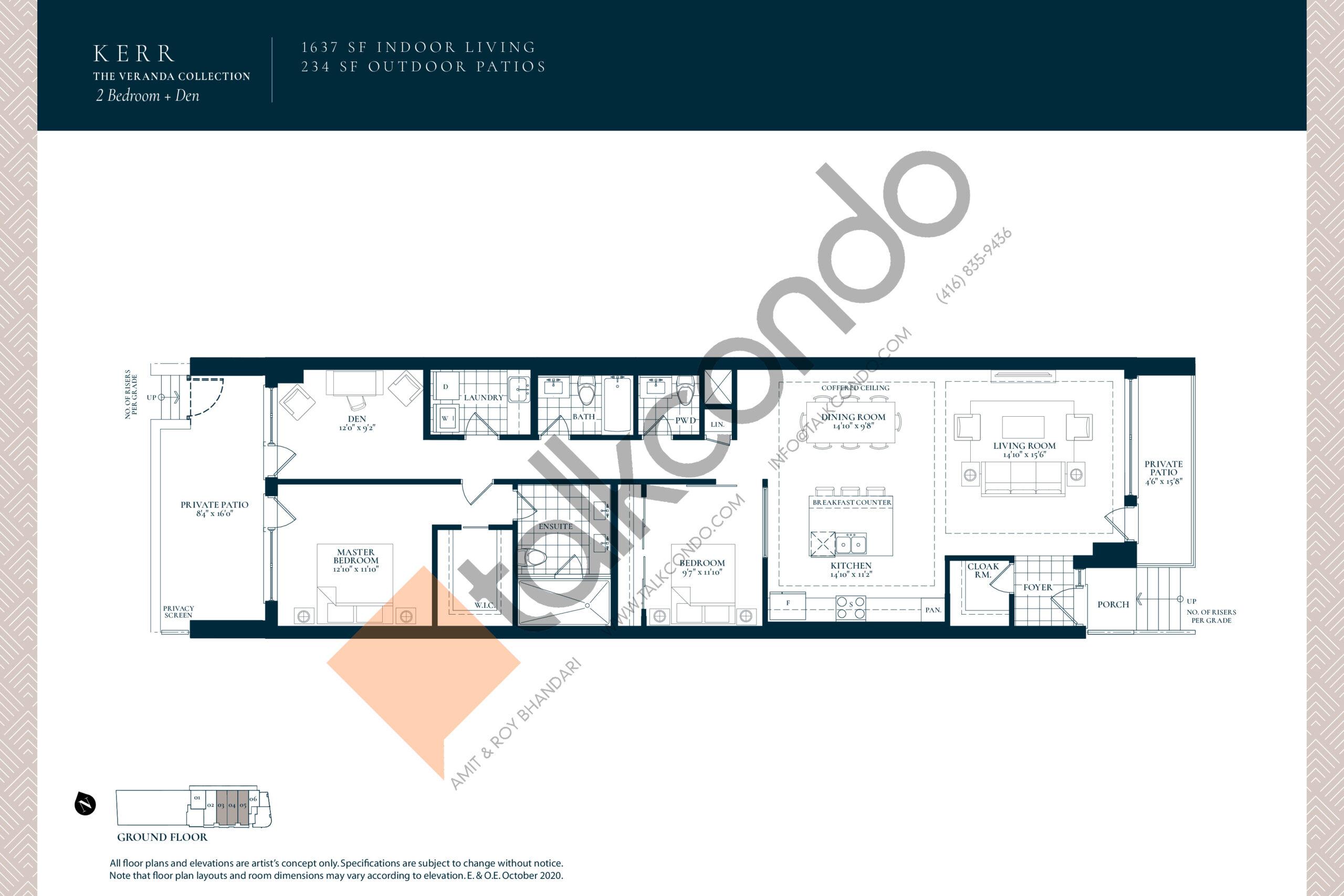 Kerr Floor Plan at Berkshire Residences Condos - 1637 sq.ft