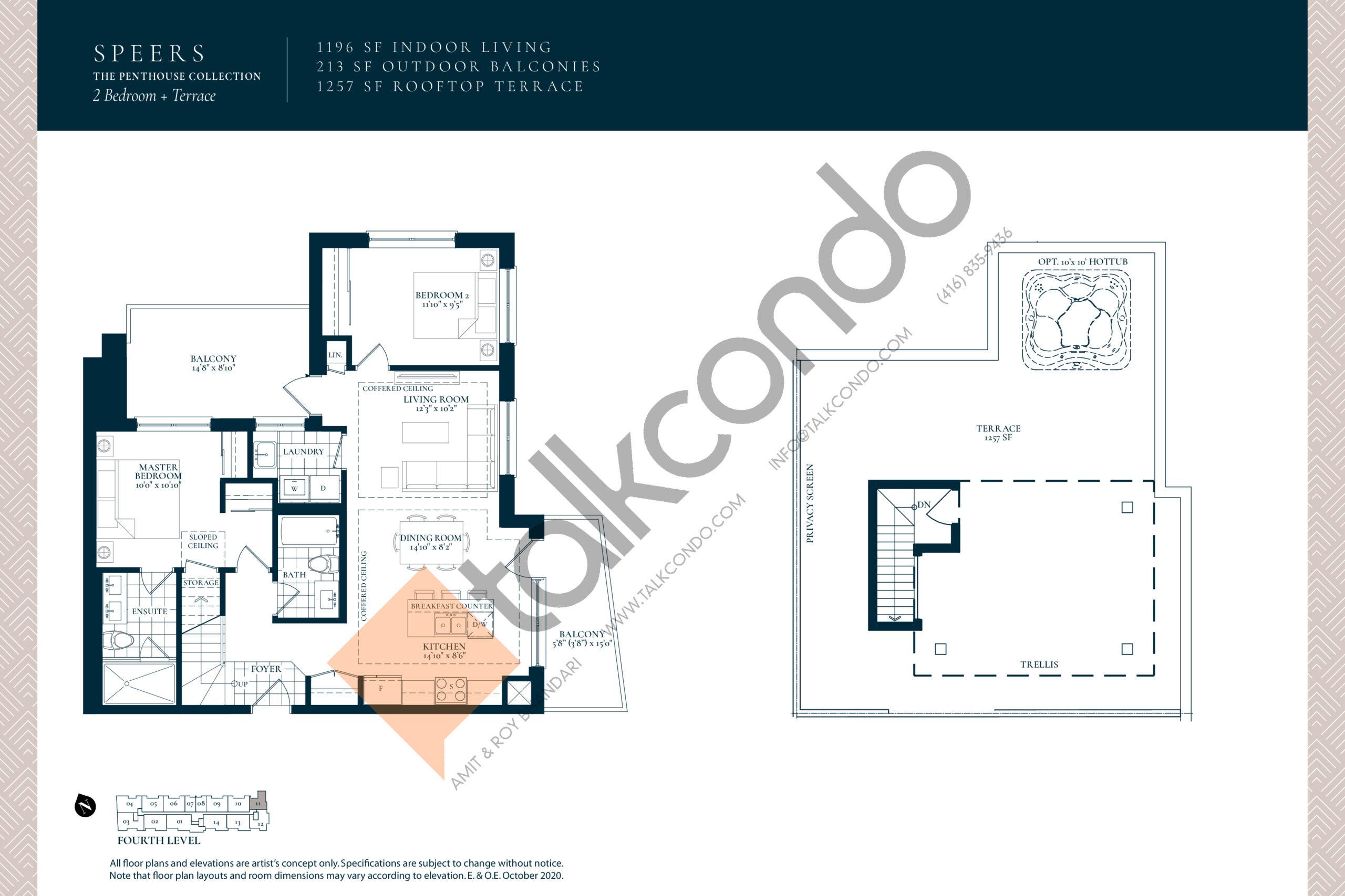 Speers Floor Plan at Berkshire Residences Condos - 1196 sq.ft