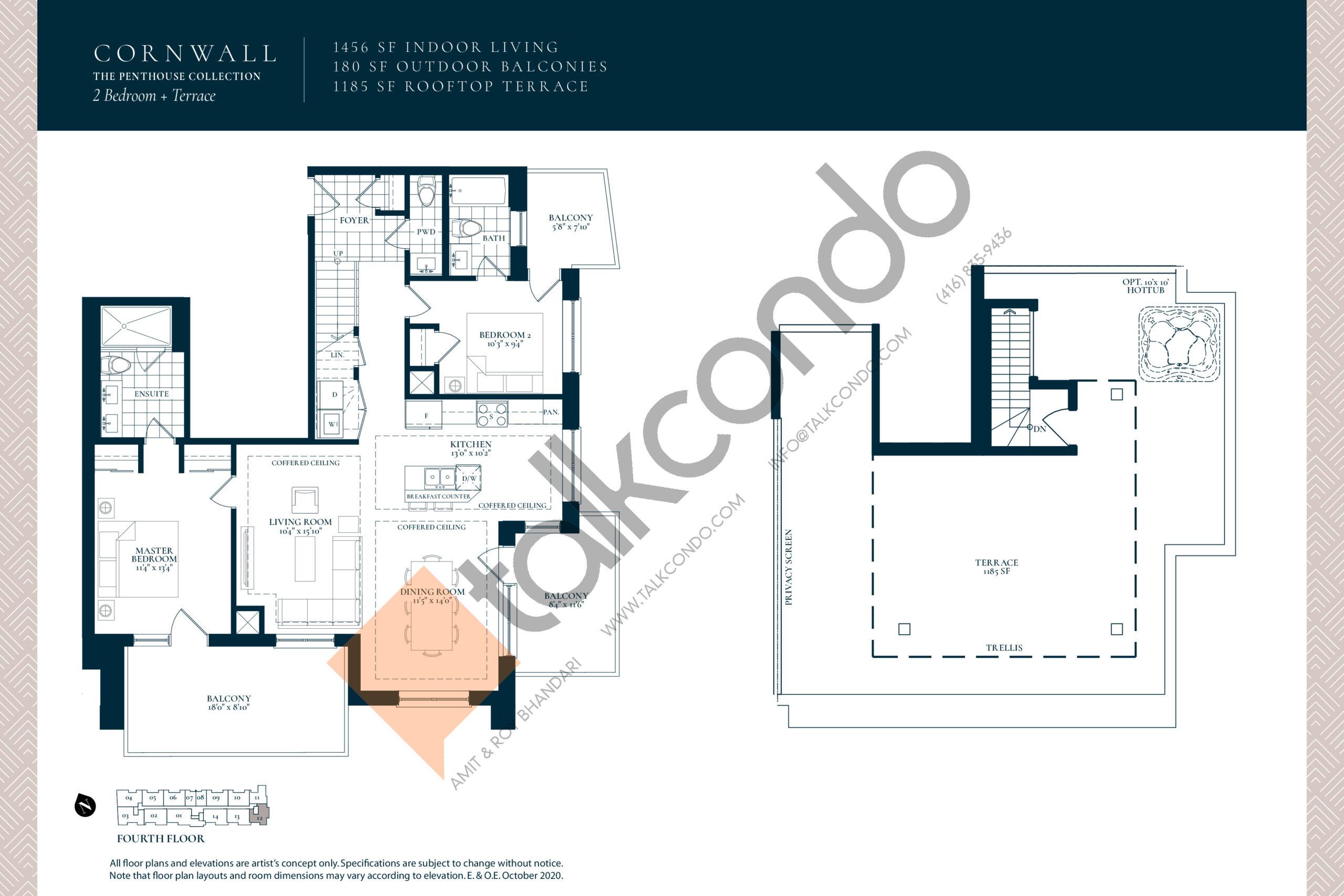 Cornwall Floor Plan at Berkshire Residences Condos - 1456 sq.ft