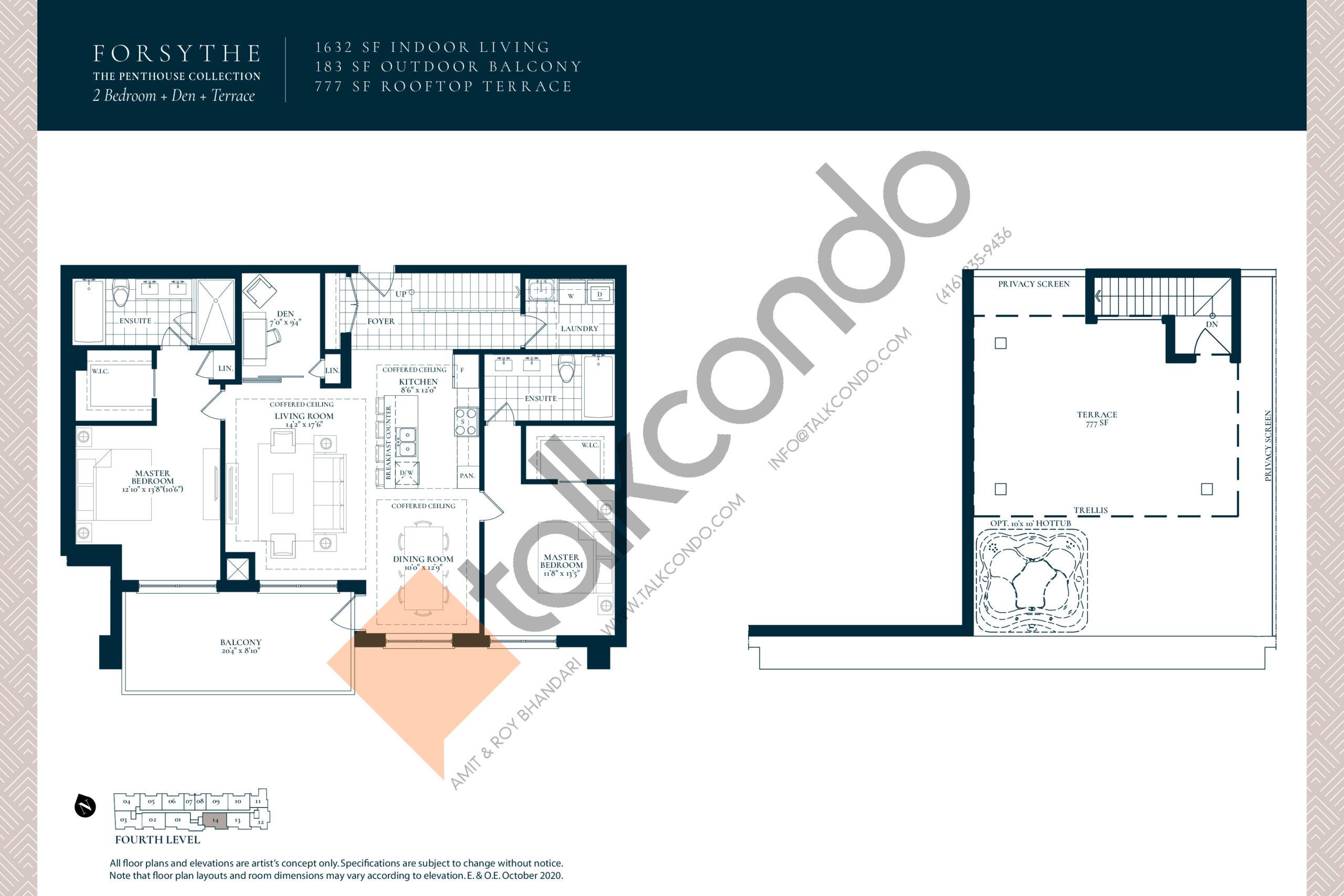 Forsythe Floor Plan at Berkshire Residences Condos - 1632 sq.ft