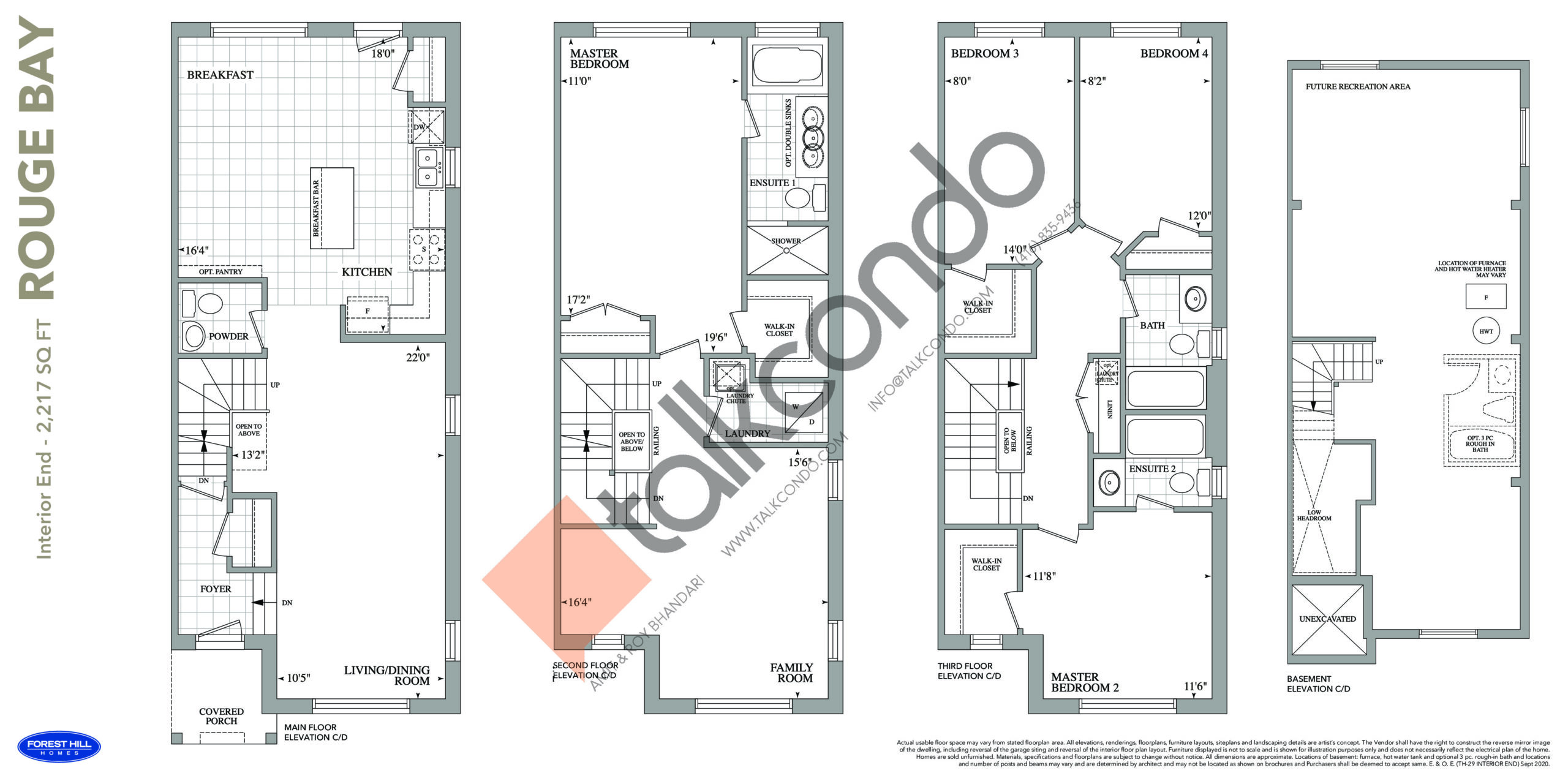 Rouge Bay Floor Plan at Cornell Rouge Phase 7 Towns - 2217 sq.ft