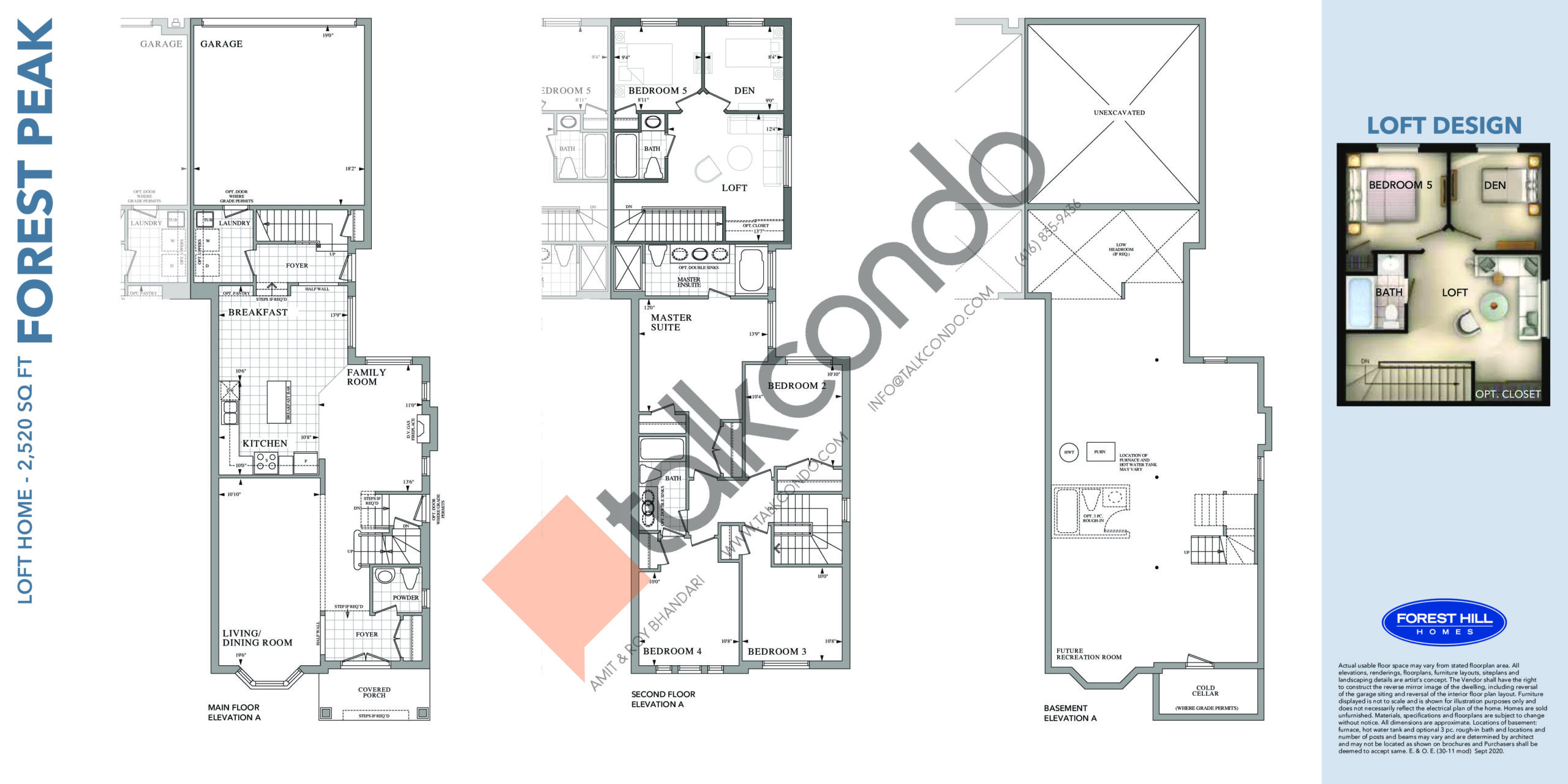 Forest Peak Floor Plan at Cornell Rouge Phase 7 Towns - 2520 sq.ft