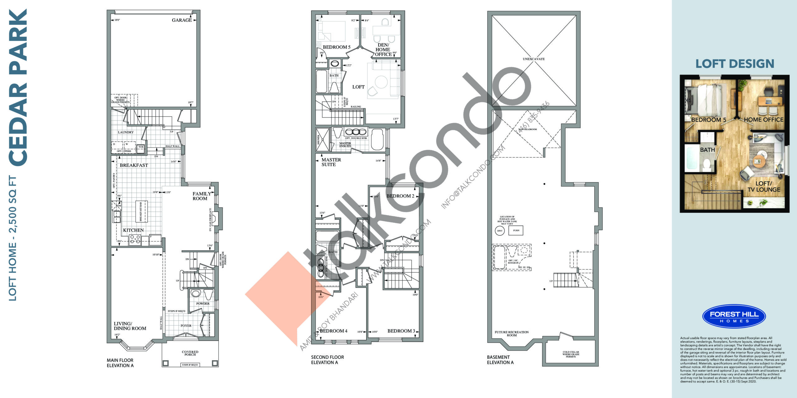 Cedar Park Floor Plan at Cornell Rouge Phase 7 Towns - 2500 sq.ft