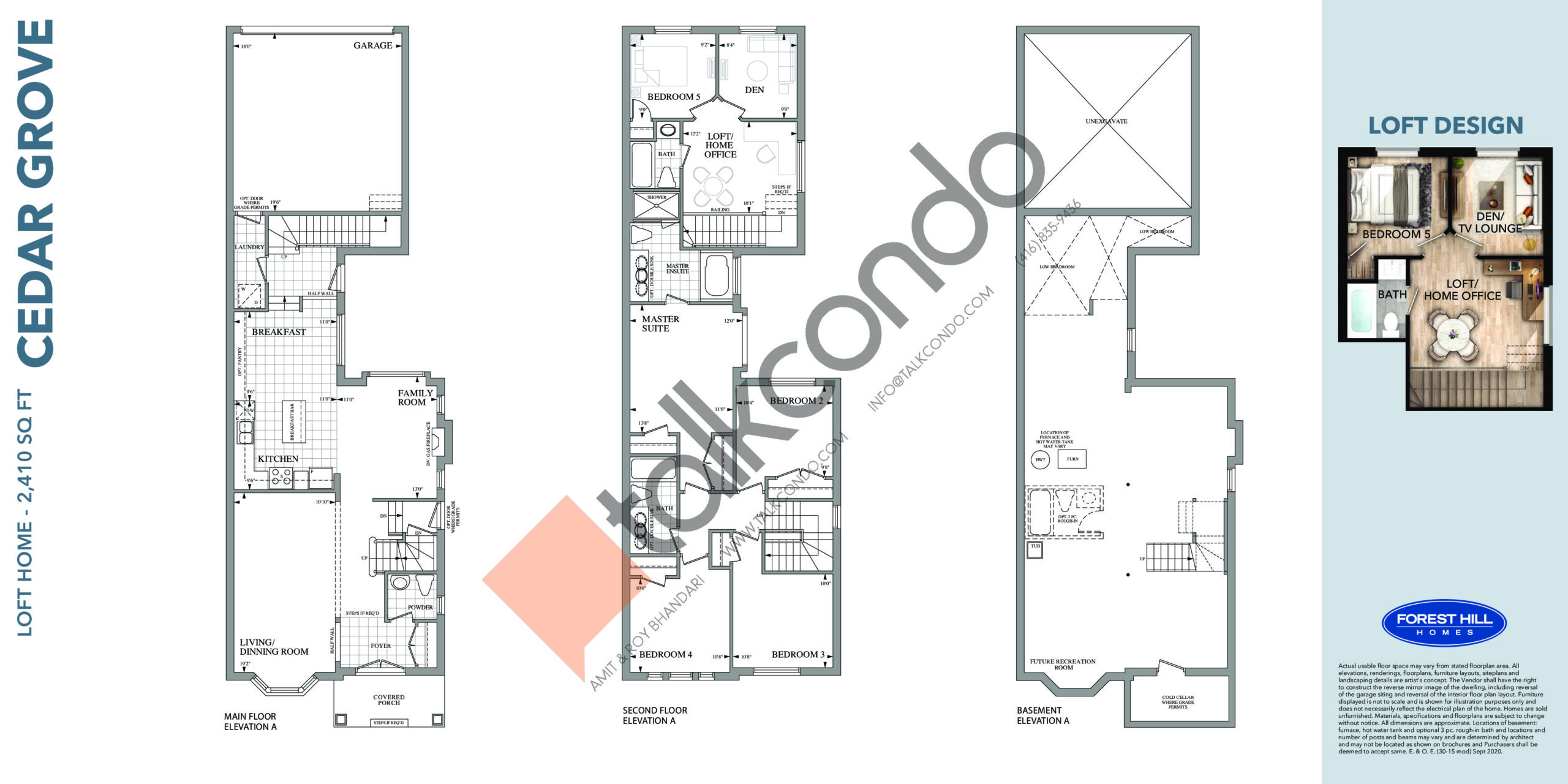 Cedar Grove Floor Plan at Cornell Rouge Phase 7 Towns - 2410 sq.ft
