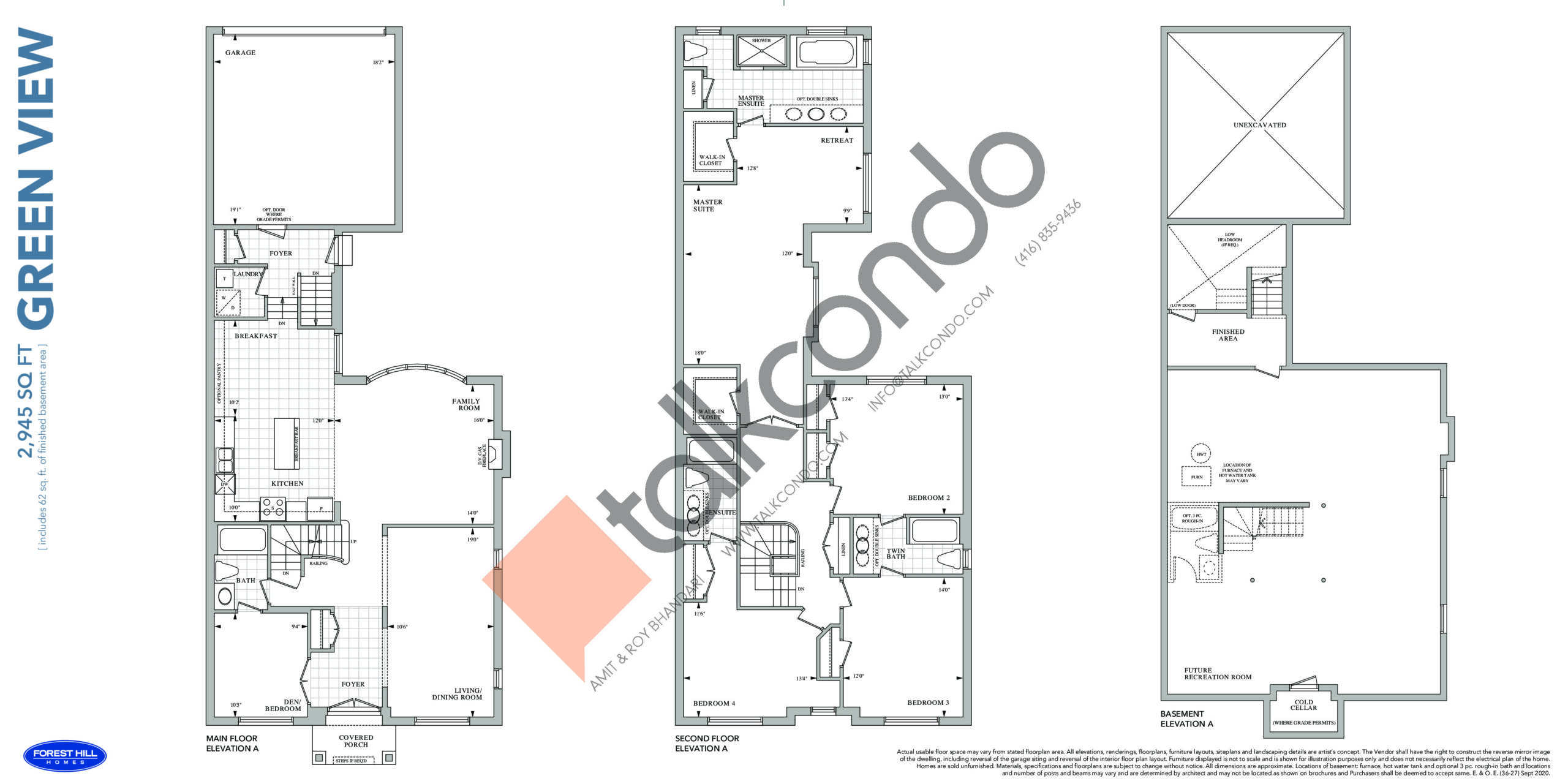Green View Floor Plan at Cornell Rouge Phase 7 Towns - 2945 sq.ft