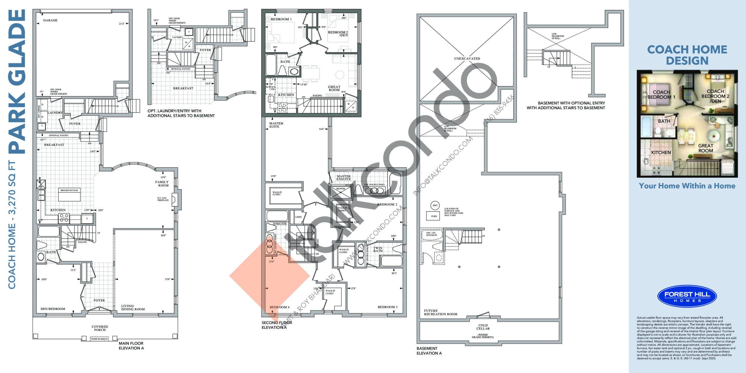 Park Glade Floor Plan at Cornell Rouge Phase 7 Towns - 3270 sq.ft