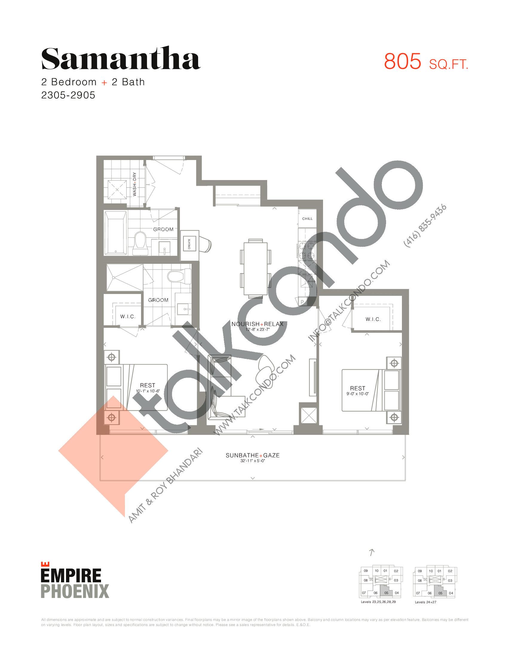 Samantha Floor Plan at Empire Phoenix Phase 2 Condos - 805 sq.ft
