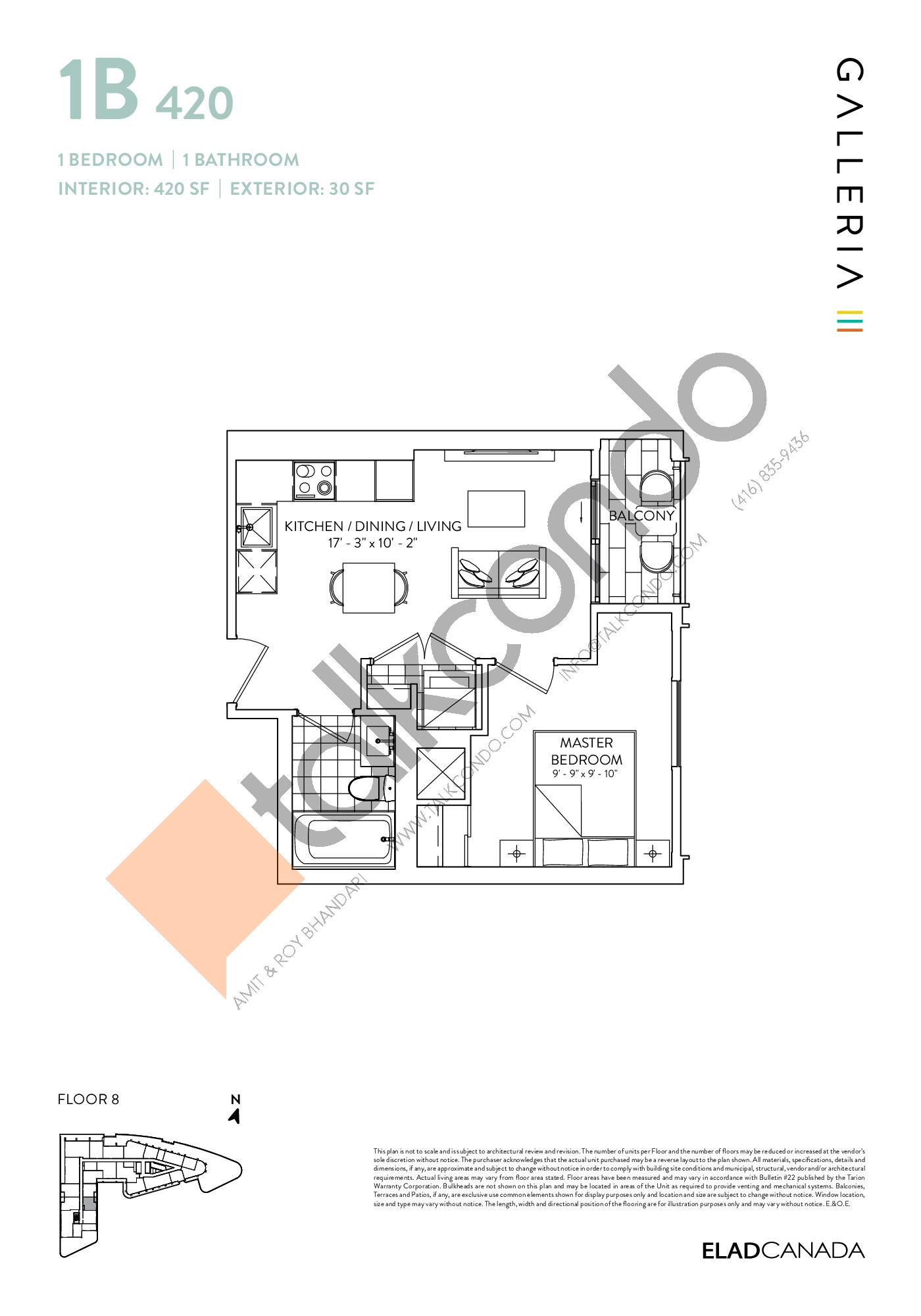 1B 420 Floor Plan at Galleria 03 Condos - 420 sq.ft