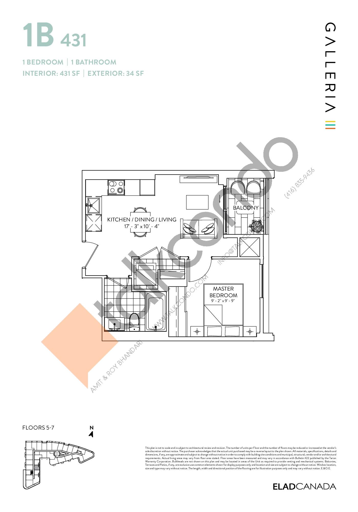 1B 431 Floor Plan at Galleria 03 Condos - 431 sq.ft