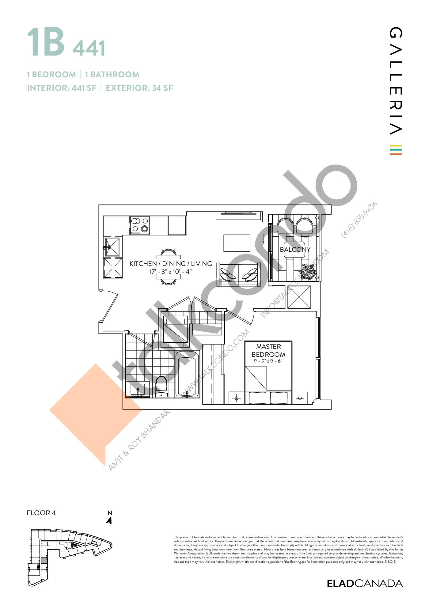 1B 441 Floor Plan at Galleria 03 Condos - 441 sq.ft