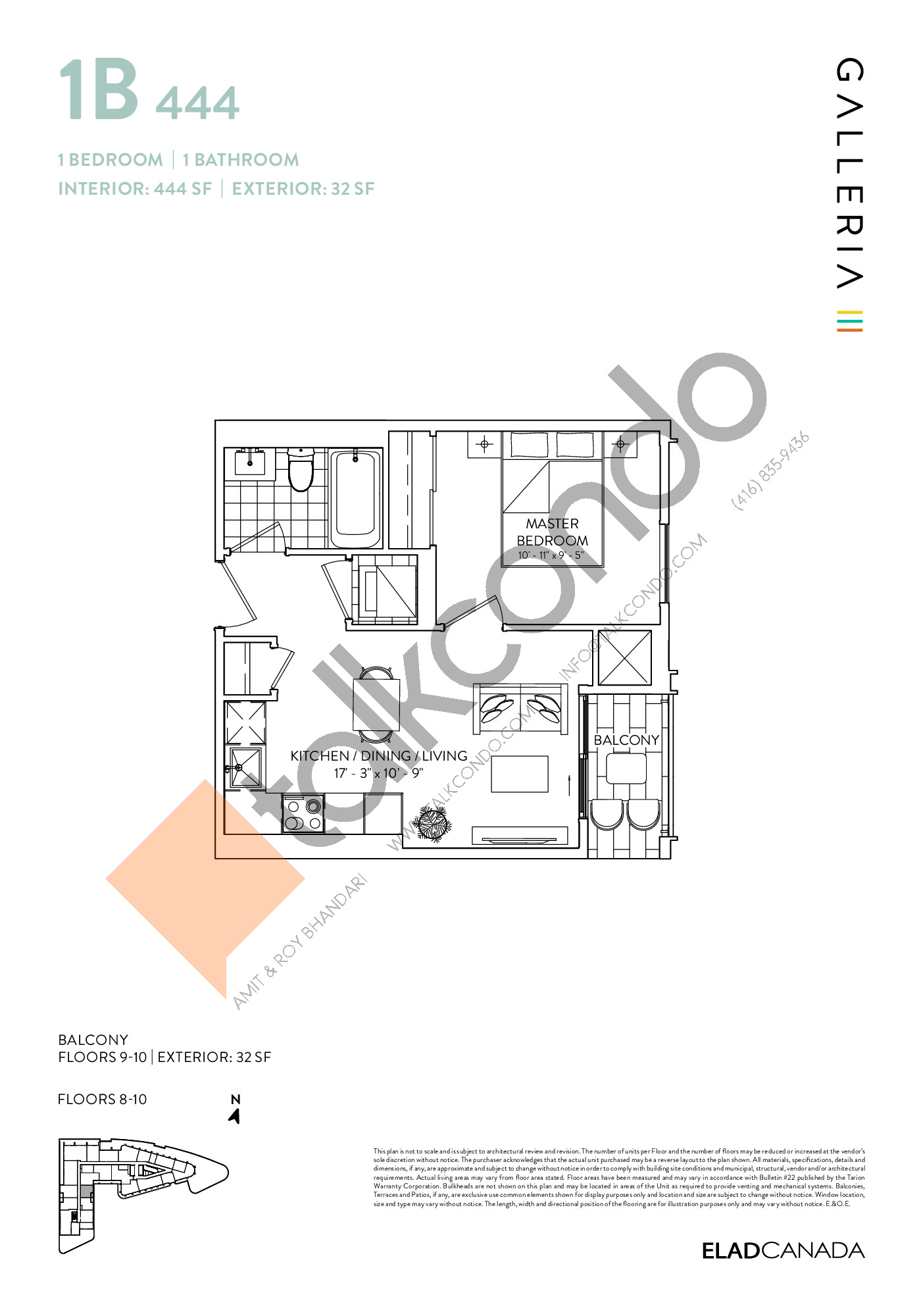 1B 444 Floor Plan at Galleria 03 Condos - 444 sq.ft