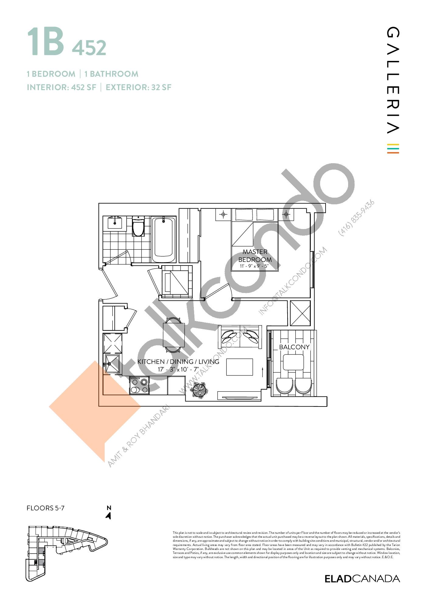 1B 452 Floor Plan at Galleria 03 Condos - 452 sq.ft
