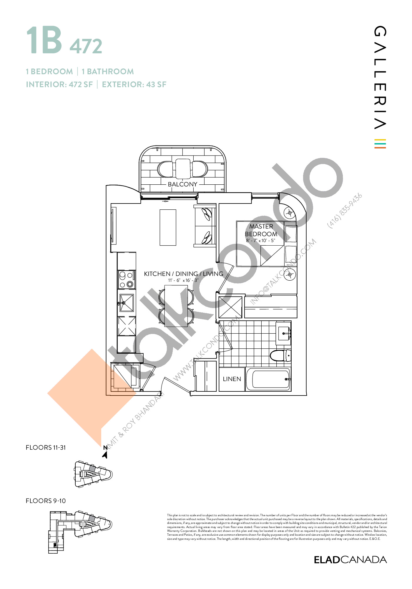 1B 472 Floor Plan at Galleria 03 Condos - 472 sq.ft