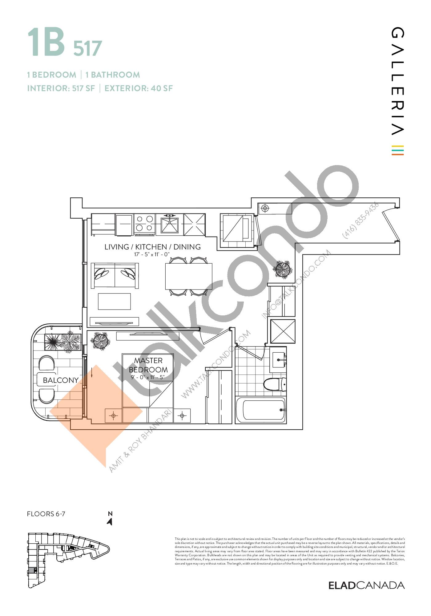 1B 517 Floor Plan at Galleria 03 Condos - 517 sq.ft
