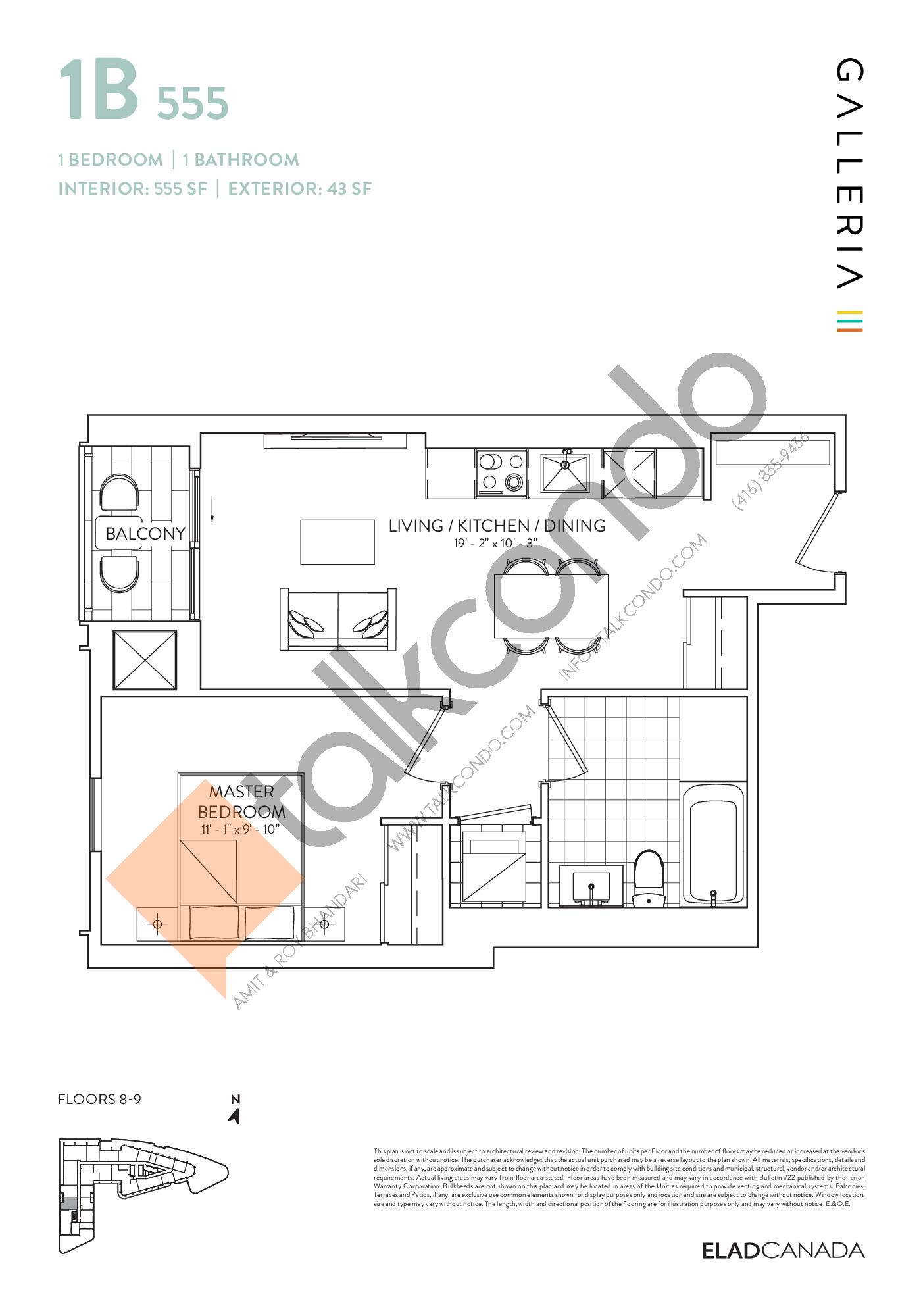 1B 555 Floor Plan at Galleria 03 Condos - 555 sq.ft