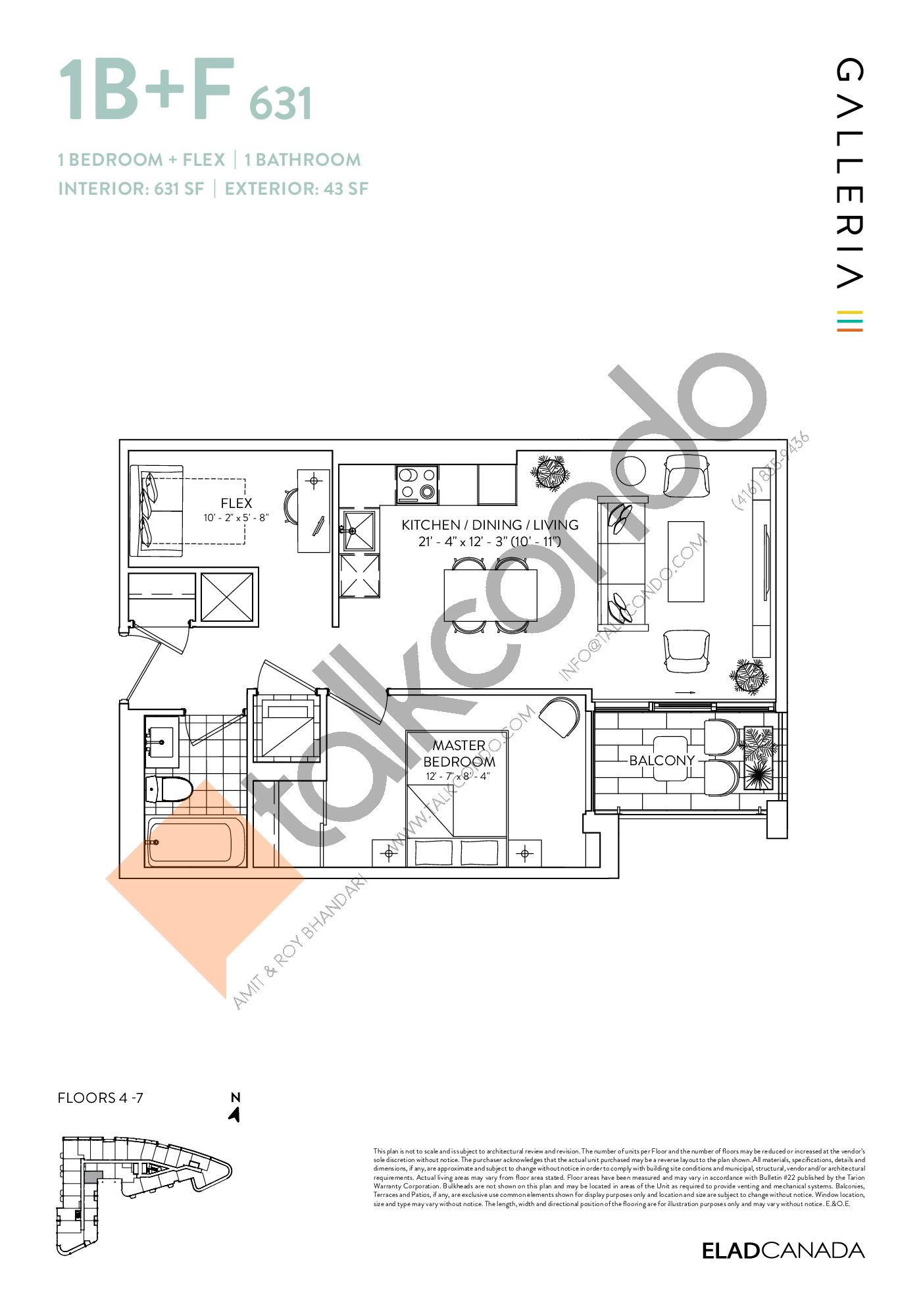 1B+F 631 Floor Plan at Galleria 03 Condos - 631 sq.ft