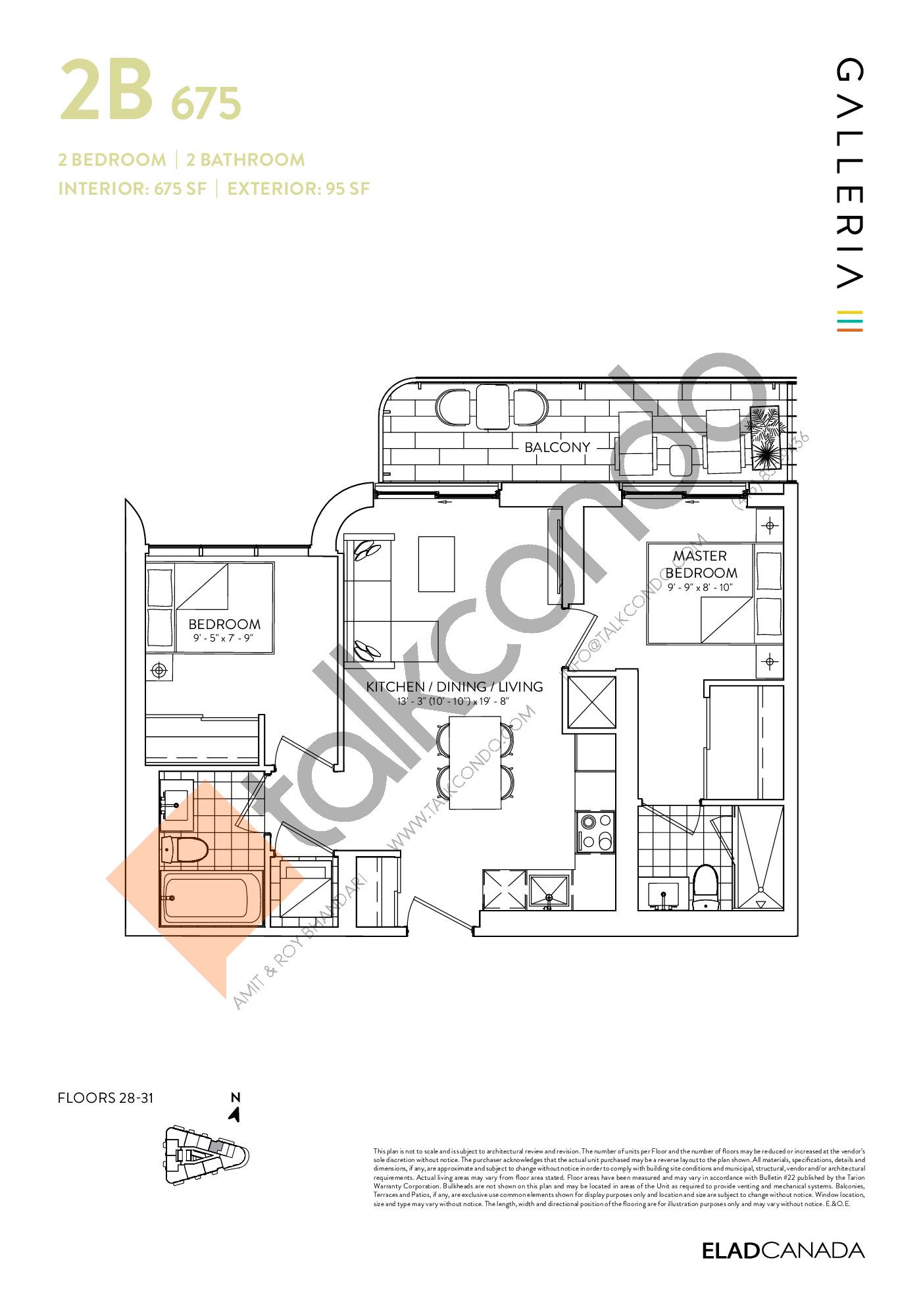 2B 675 Floor Plan at Galleria 03 Condos - 675 sq.ft