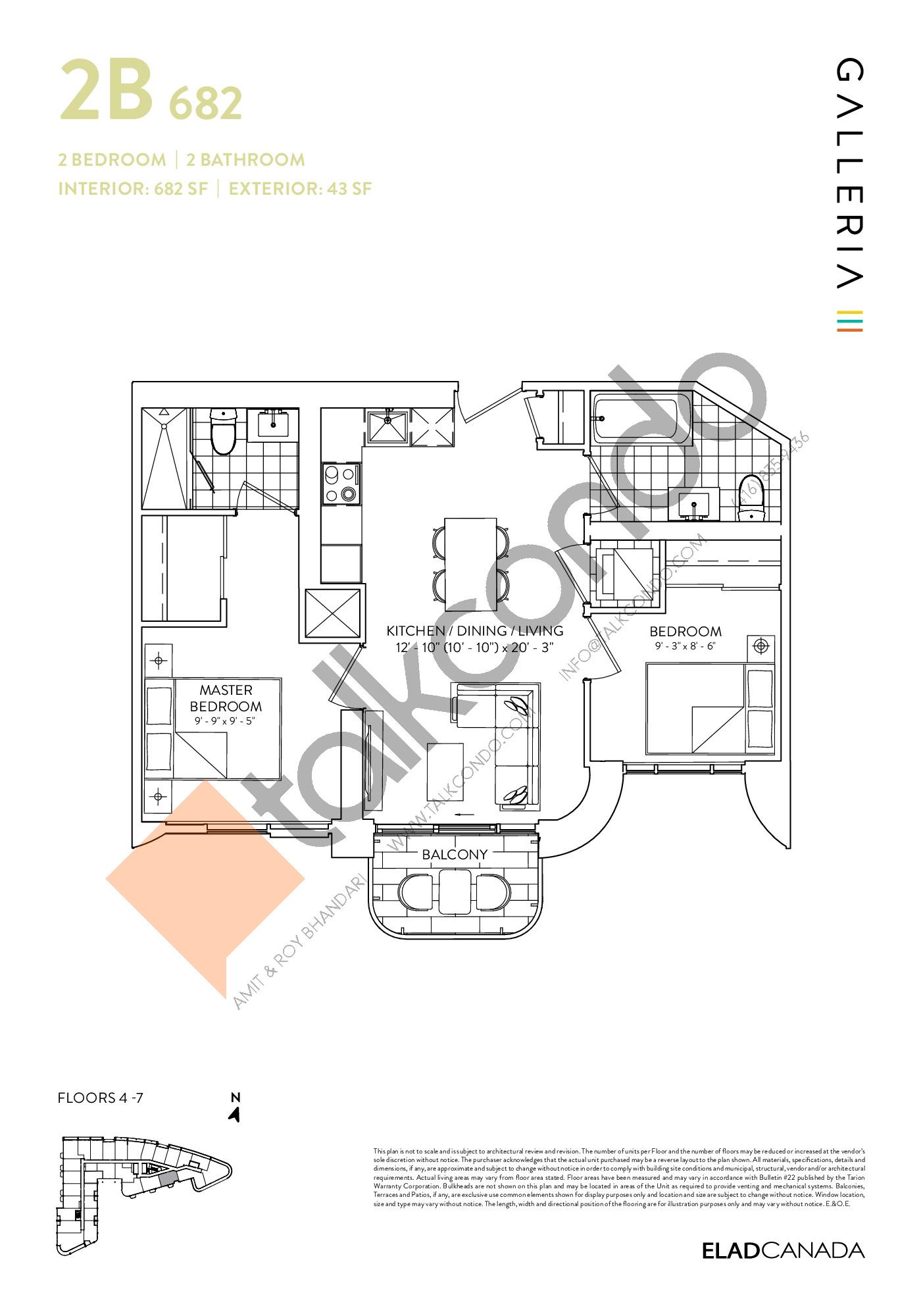 2B 682 Floor Plan at Galleria 03 Condos - 682 sq.ft