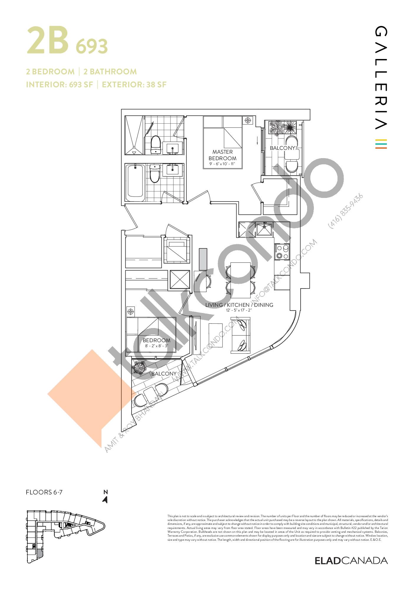 2B 693 Floor Plan at Galleria 03 Condos - 693 sq.ft