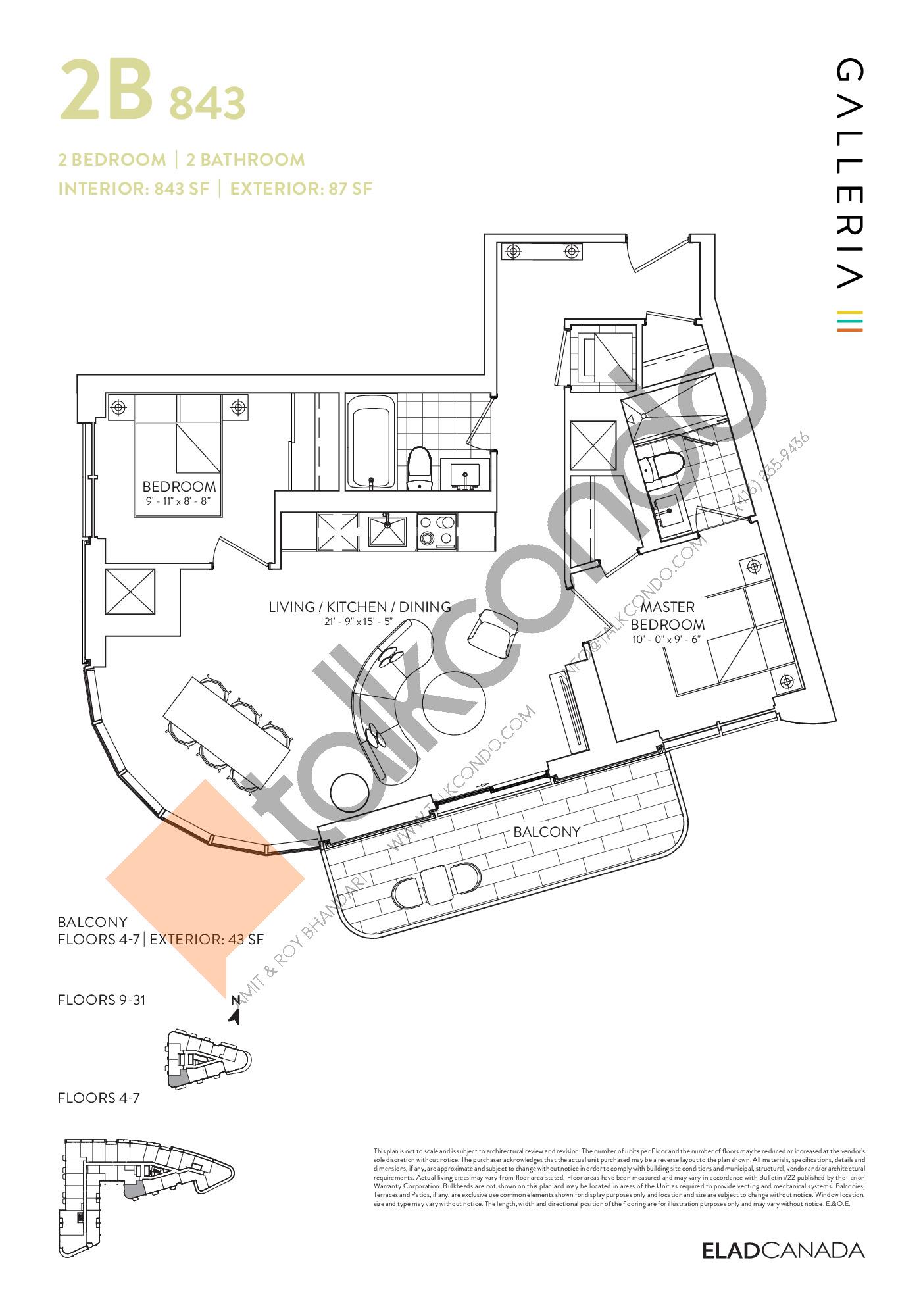 2B 843 Floor Plan at Galleria 03 Condos - 843 sq.ft