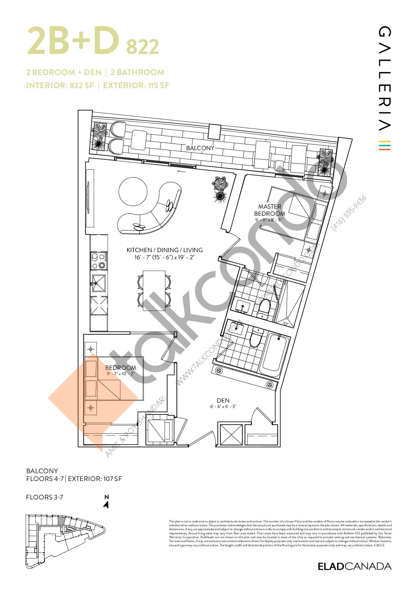 2B+D 822 Floor Plan at Galleria 03 Condos - 822 sq.ft