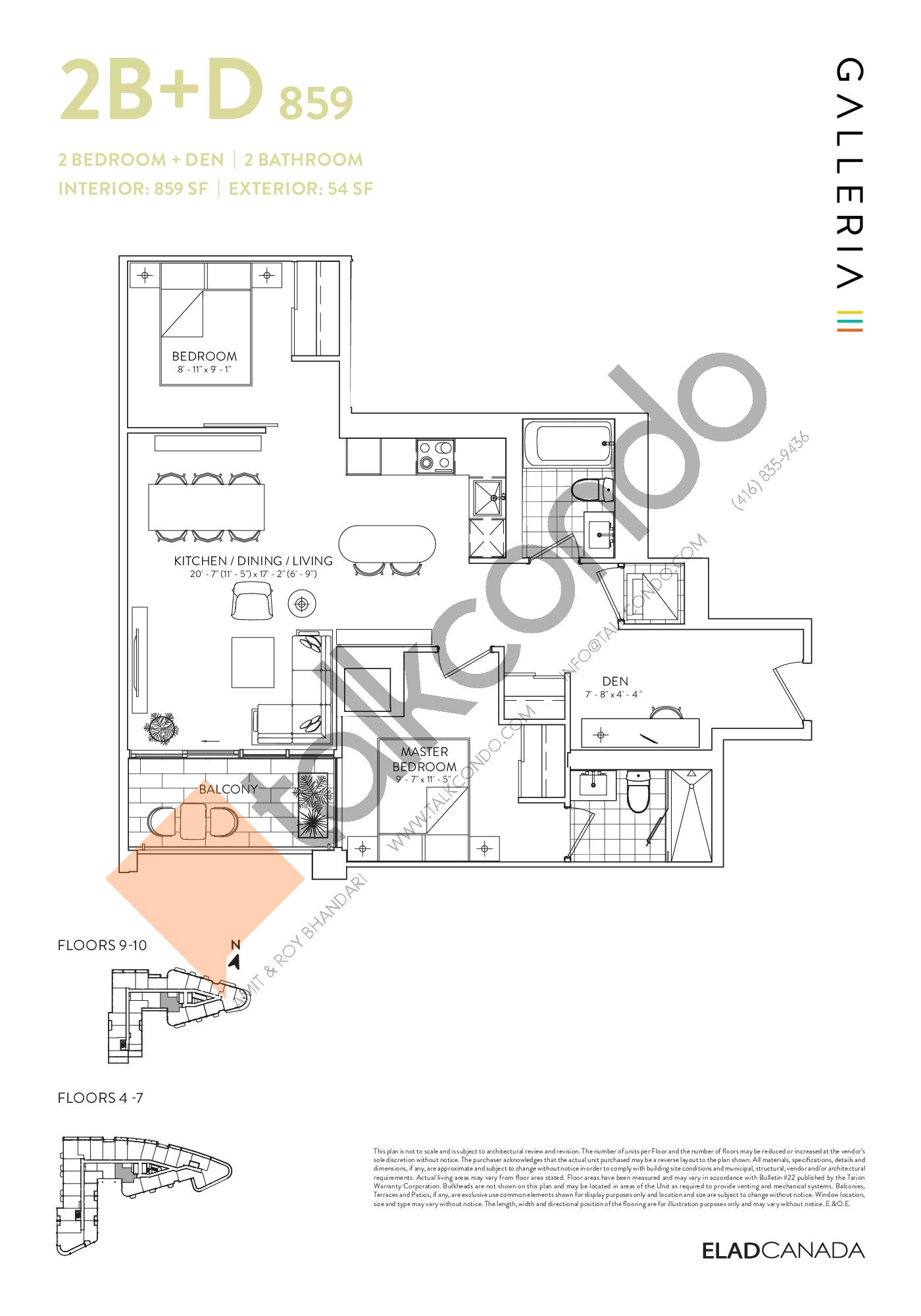 2B+D 859 Floor Plan at Galleria 03 Condos - 859 sq.ft