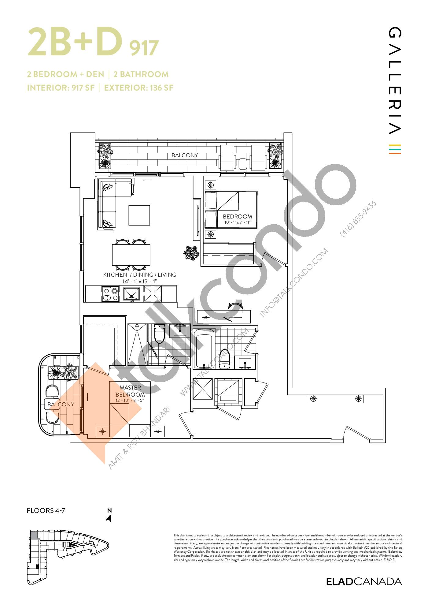 2B+D 917 Floor Plan at Galleria 03 Condos - 917 sq.ft
