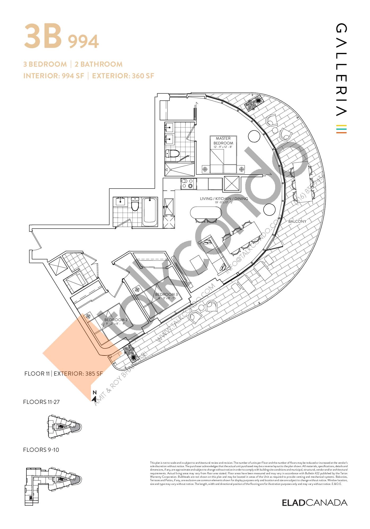 3B 994 Floor Plan at Galleria 03 Condos - 994 sq.ft