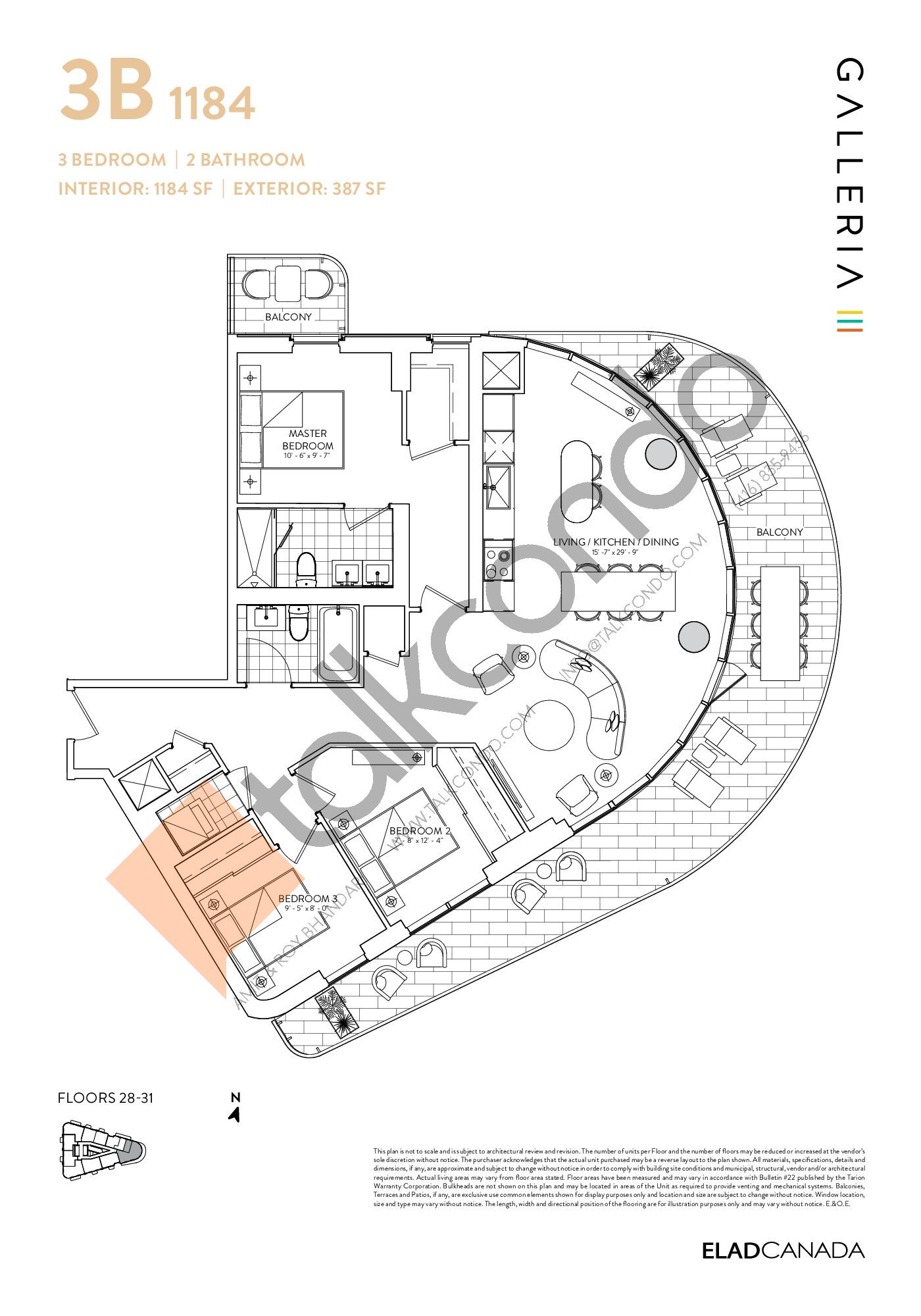 3B 1184 Floor Plan at Galleria 03 Condos - 1184 sq.ft