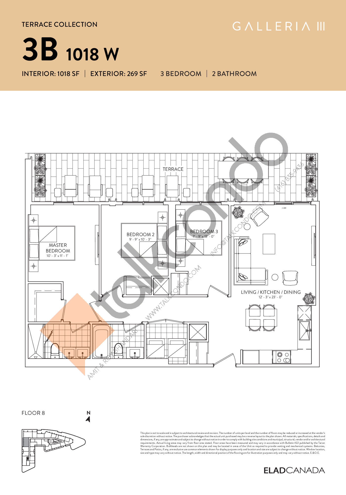 3B 1018 W - Terrace Collection Floor Plan at Galleria 03 Condos - 1018 sq.ft