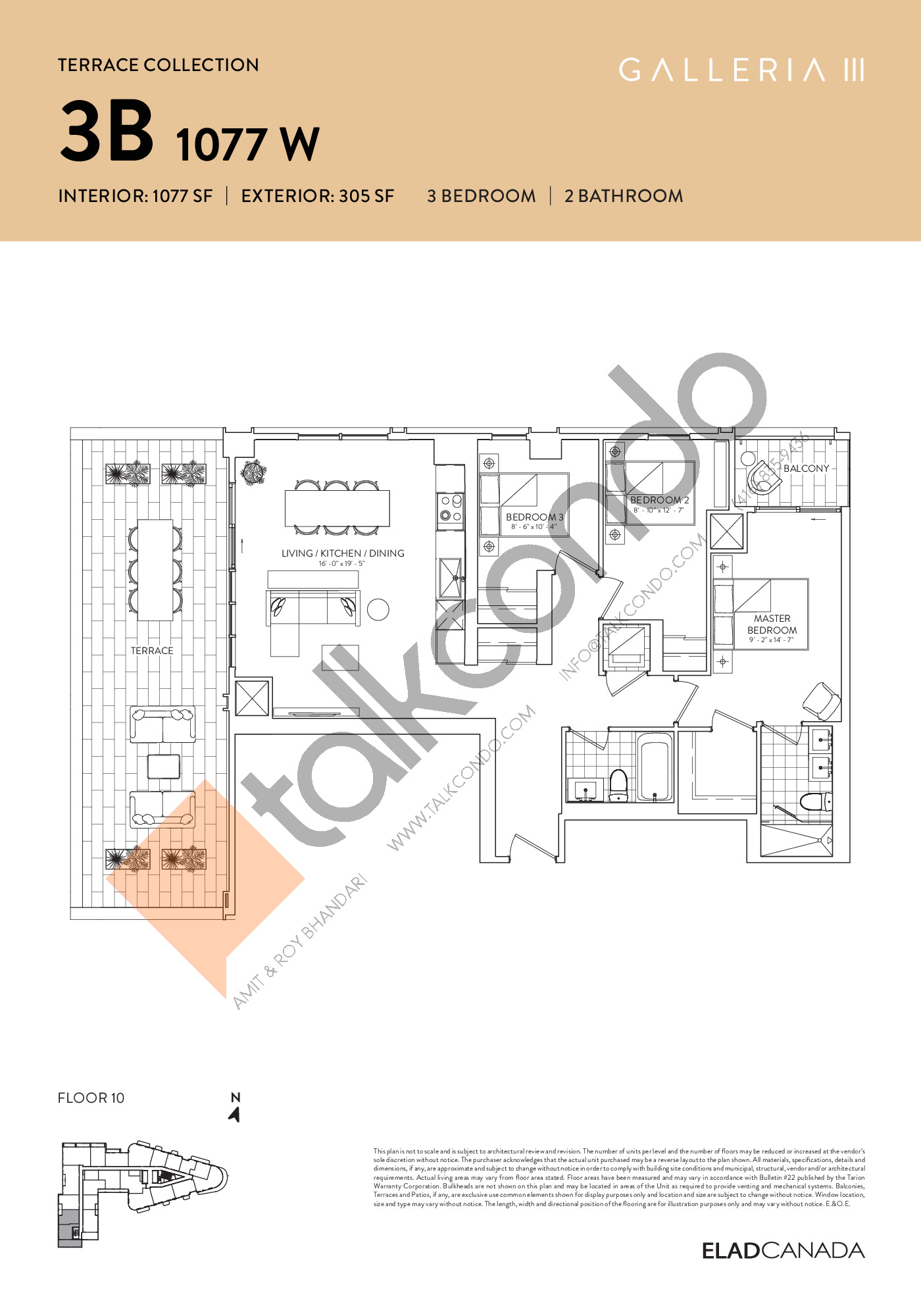 3B 1077 W - Terrace Collection Floor Plan at Galleria 03 Condos - 1077 sq.ft
