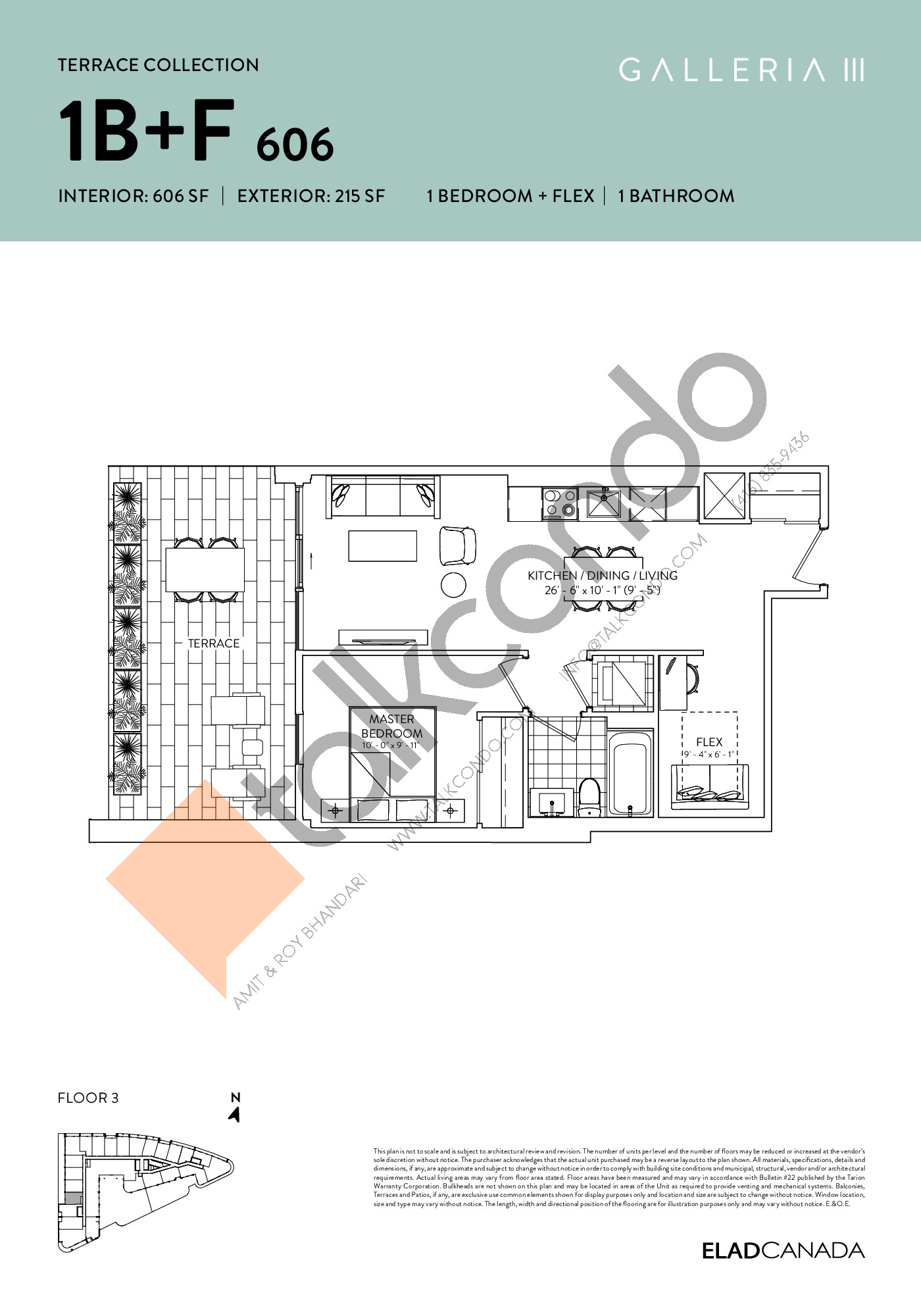 1B+F 606 - Terrace Collection Floor Plan at Galleria 03 Condos - 606 sq.ft